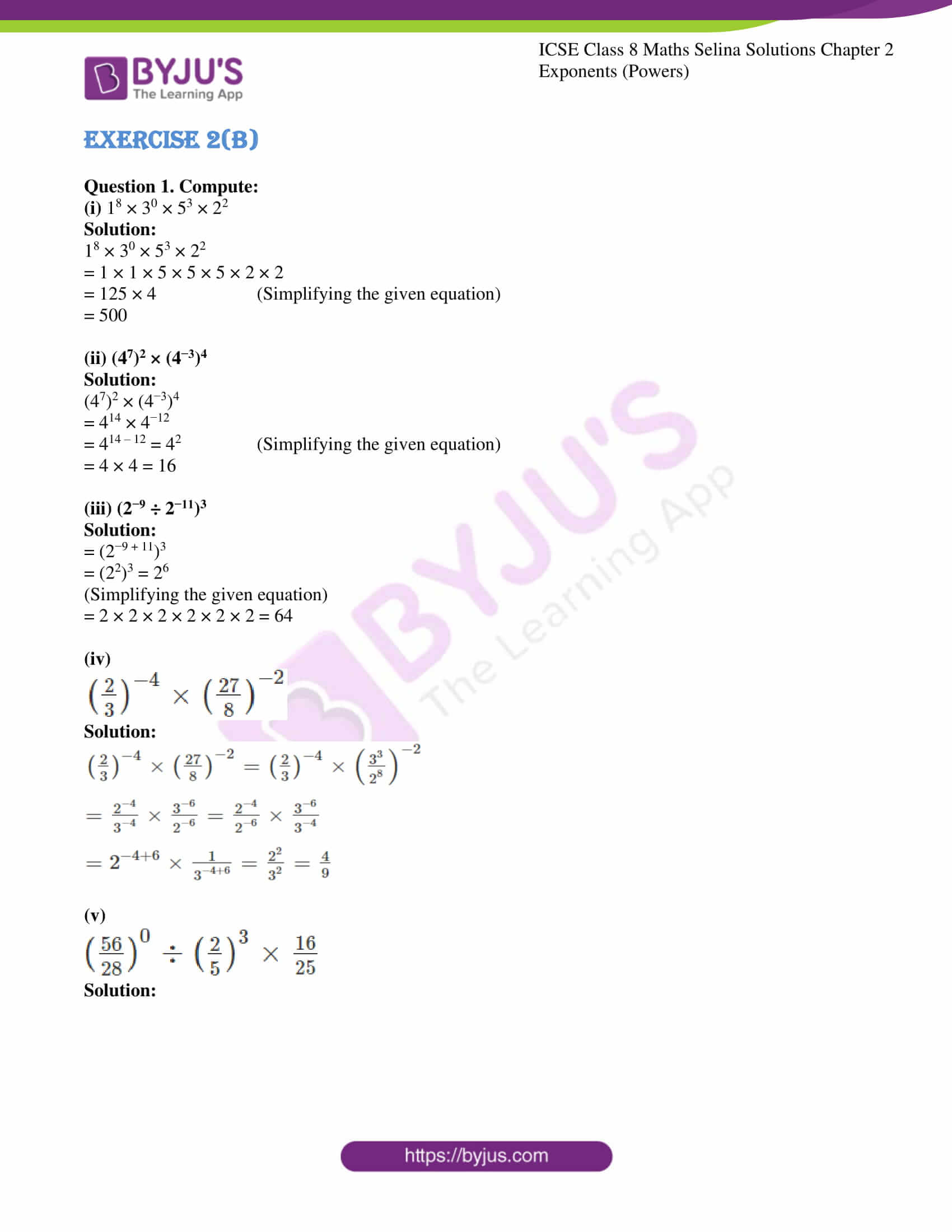 icse april7 class 8 maths selina solutions chapter 2 exponents powers 04