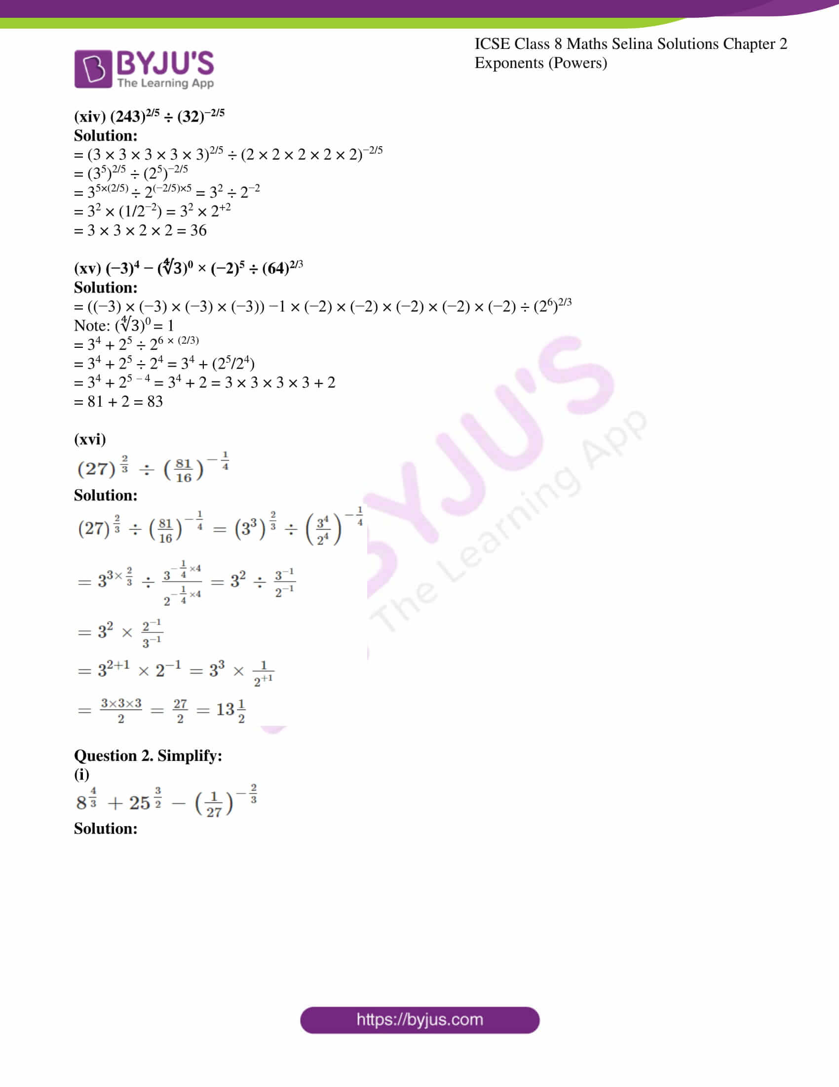 icse april7 class 8 maths selina solutions chapter 2 exponents powers 07