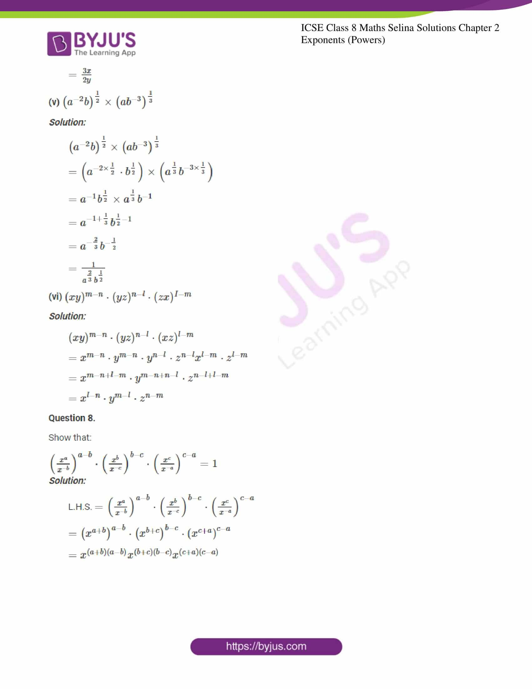 icse april7 class 8 maths selina solutions chapter 2 exponents powers 14