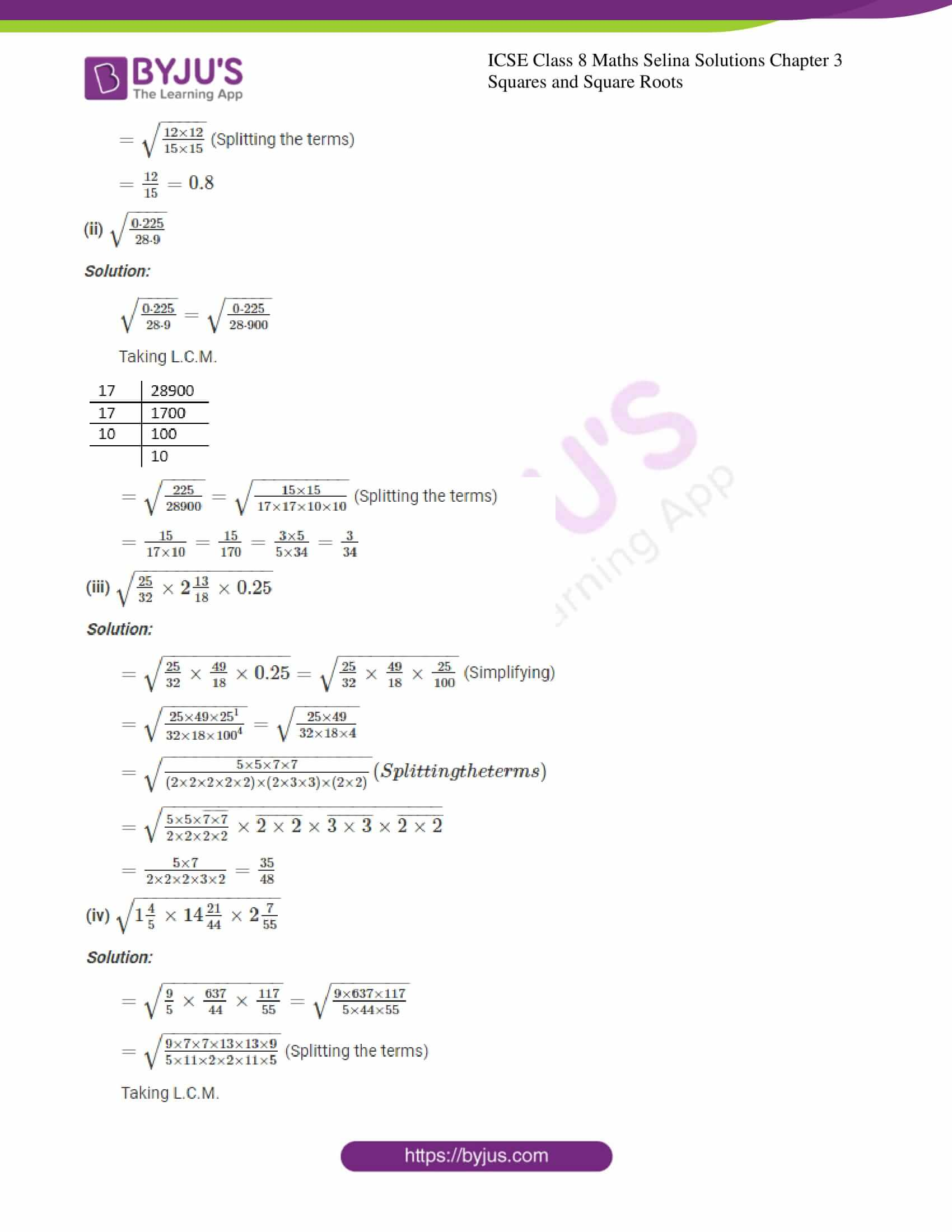 icse april7 class 8 maths selina solutions chapter 3 squares and square roots 04
