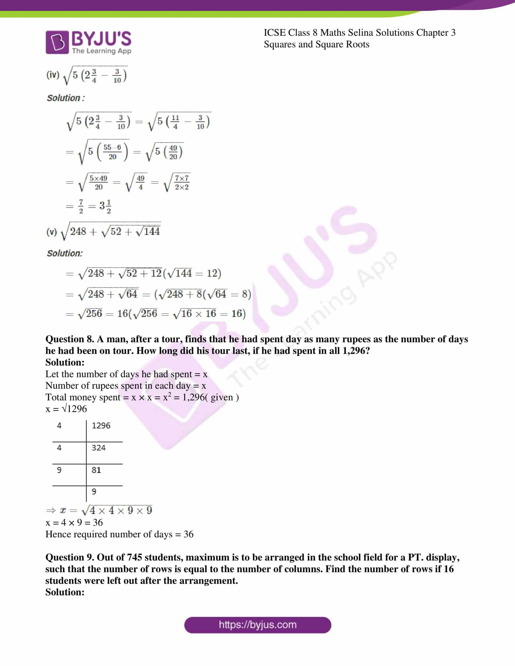 icse april7 class 8 maths selina solutions chapter 3 squares and square roots 06