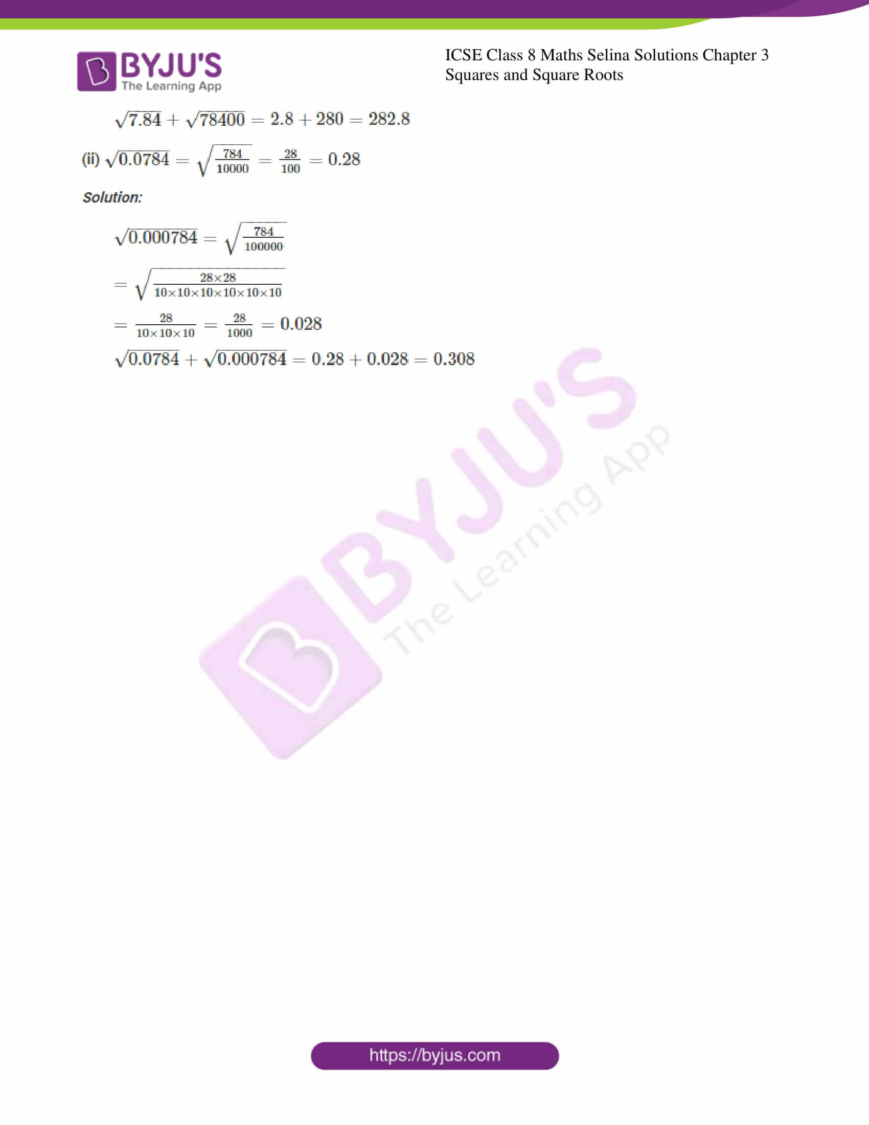 icse april7 class 8 maths selina solutions chapter 3 squares and square roots 08
