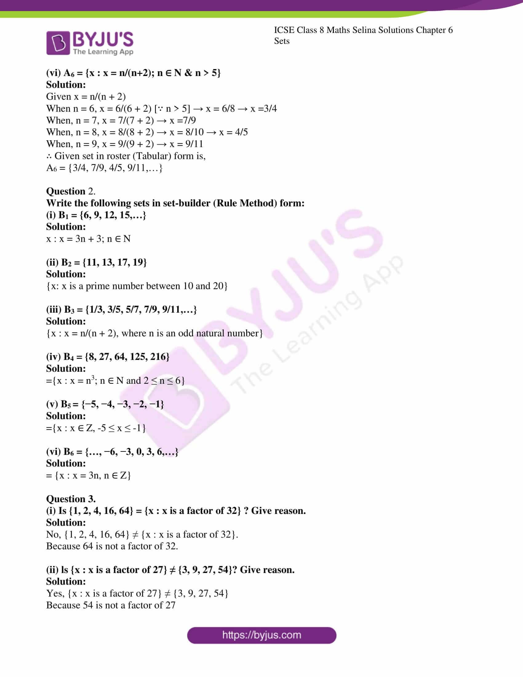icse april7 class 8 maths selina solutions chapter 6 sets 02