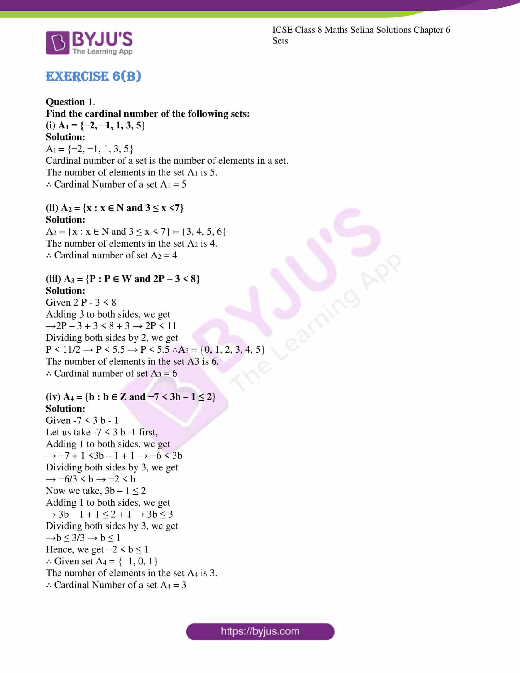 icse april7 class 8 maths selina solutions chapter 6 sets 07