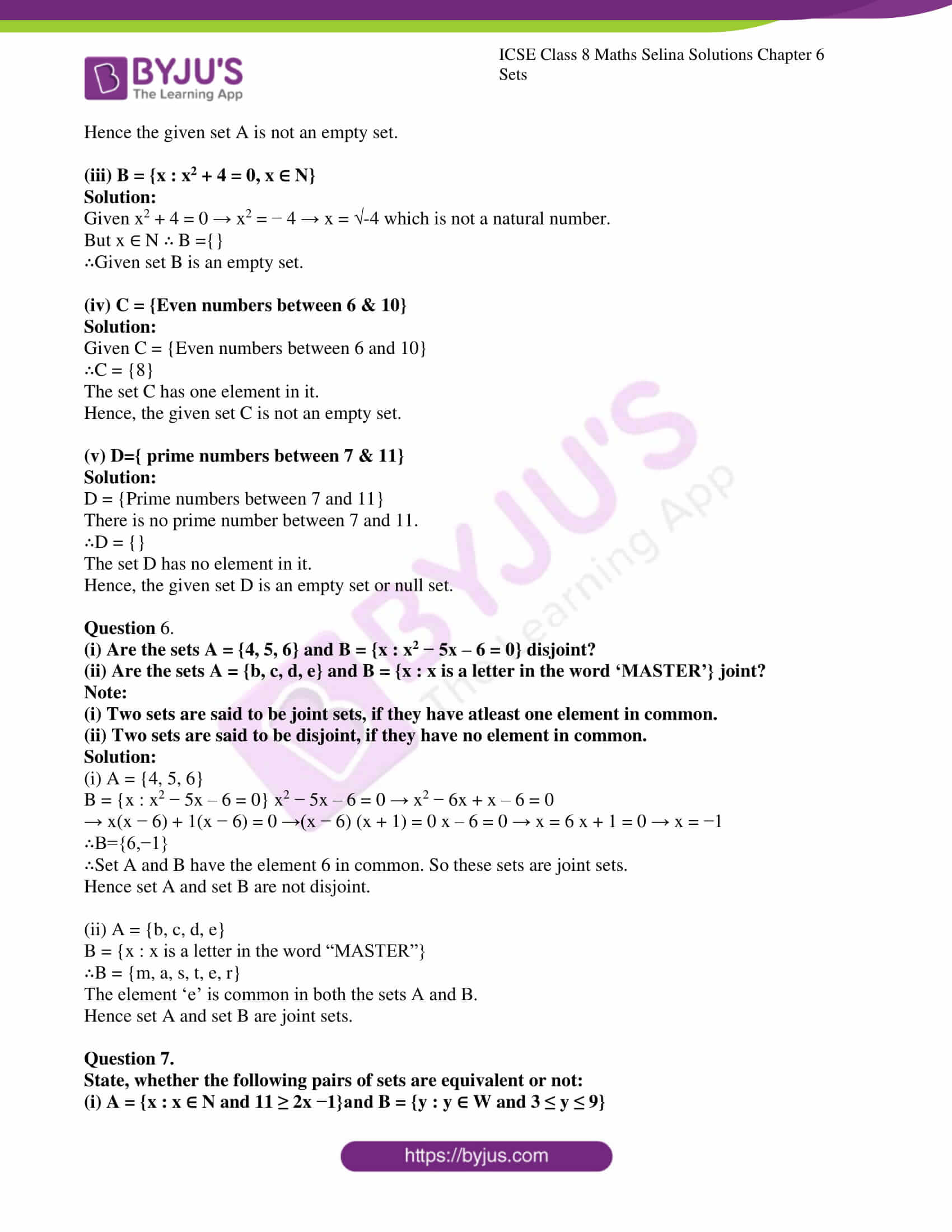 icse april7 class 8 maths selina solutions chapter 6 sets 10