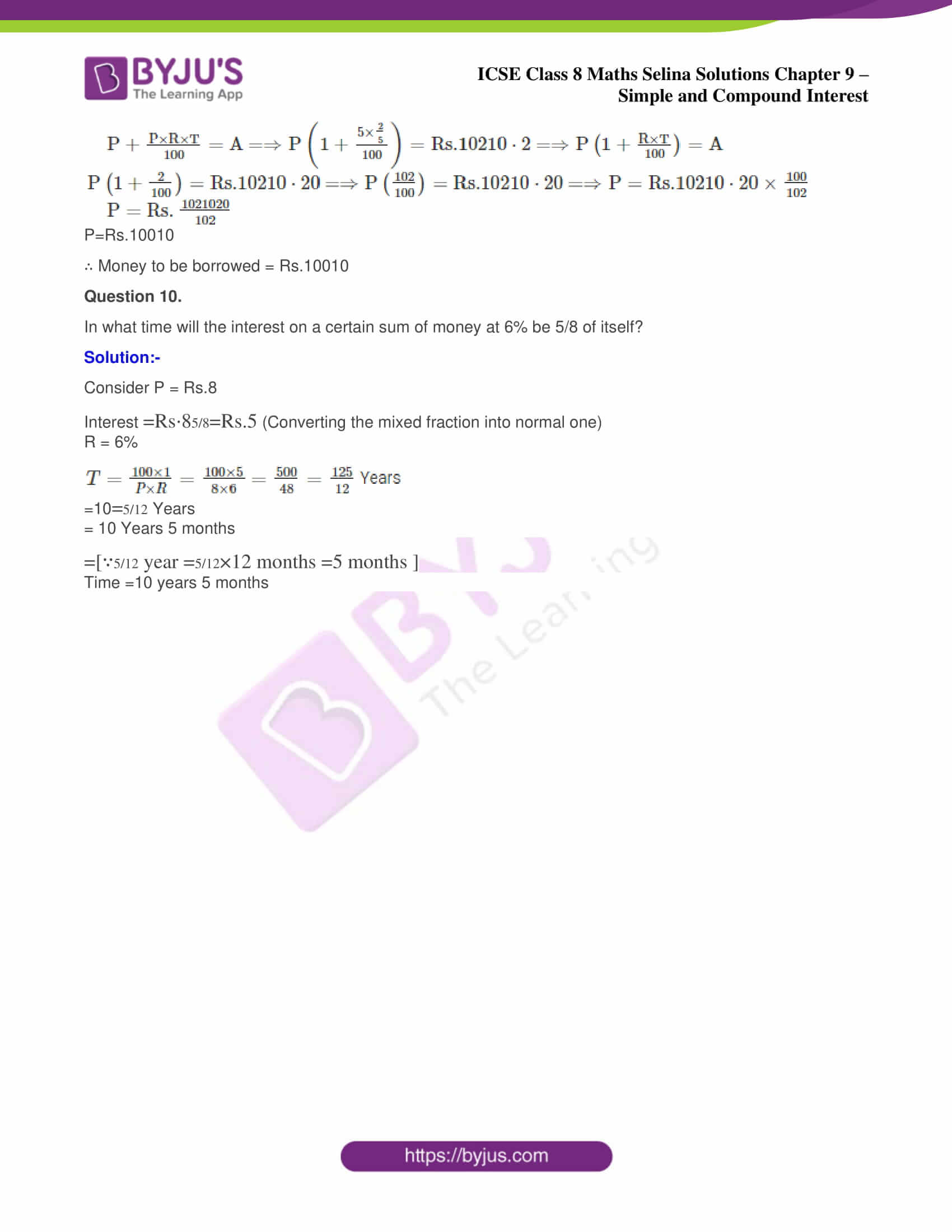 icse april7 class 8 maths selina solutions chapter 9 simple and compound interest 5