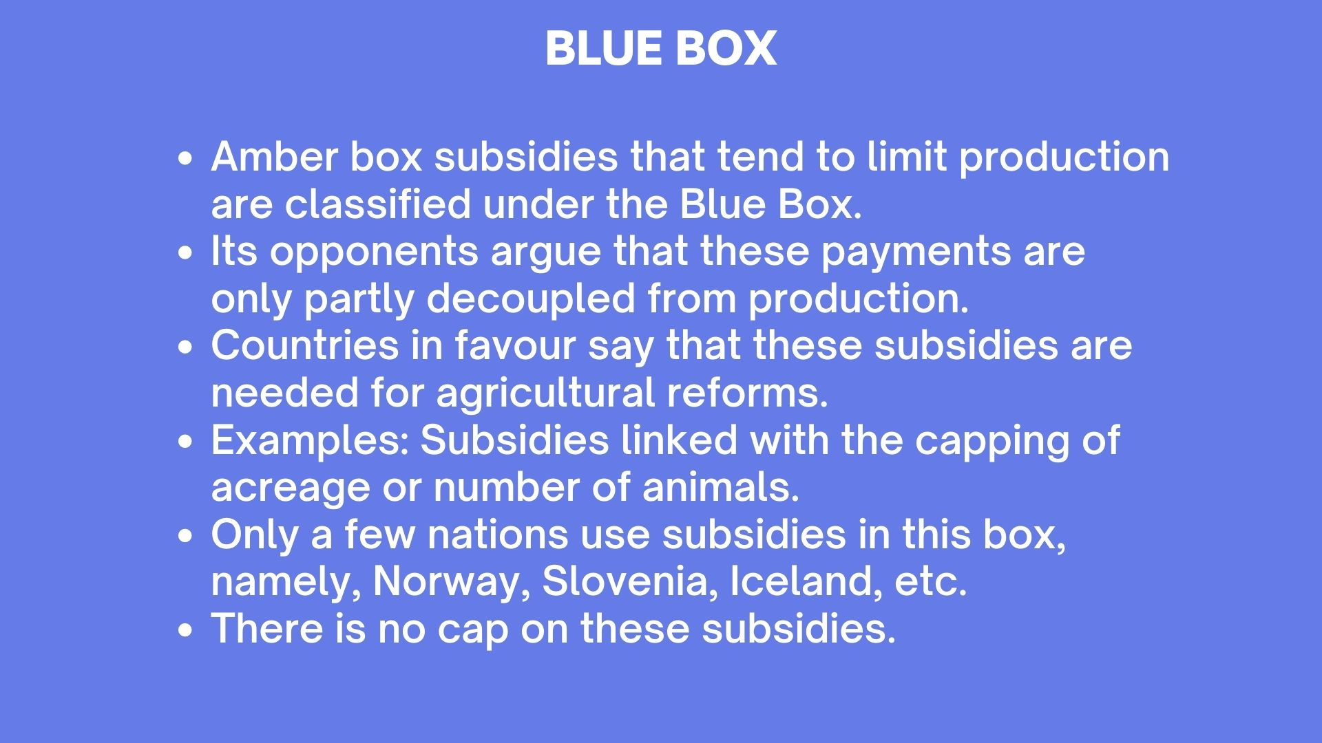 WTO Blue Box
