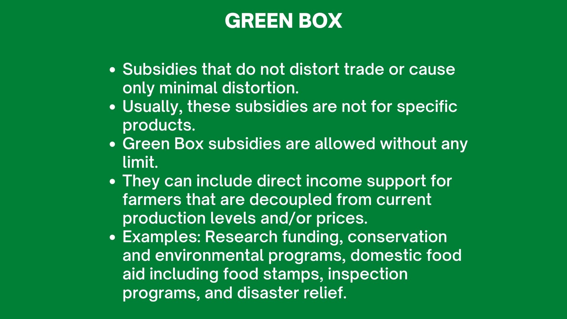 WTO Green Box