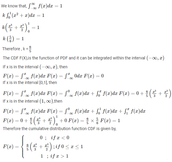 Cumulative distributive function Example