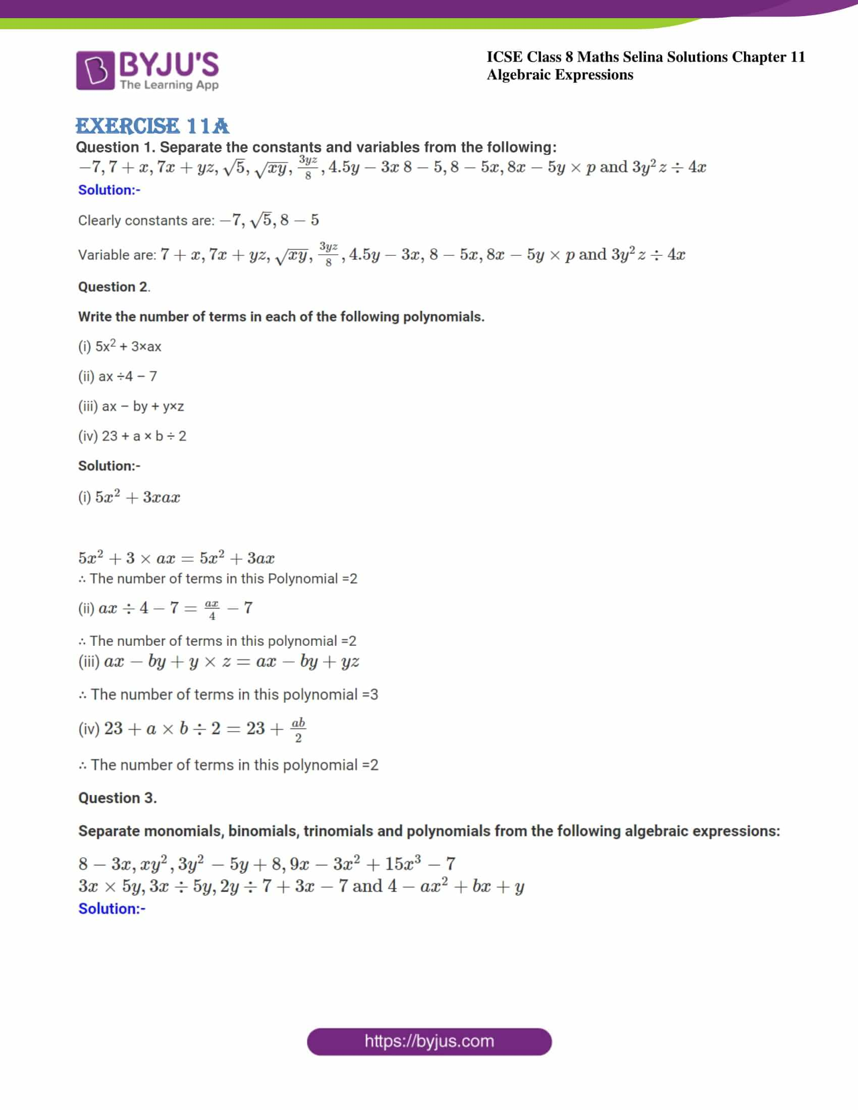 icse class 8 maths may3 selina solutions chapter 11 algebraic expressions 01