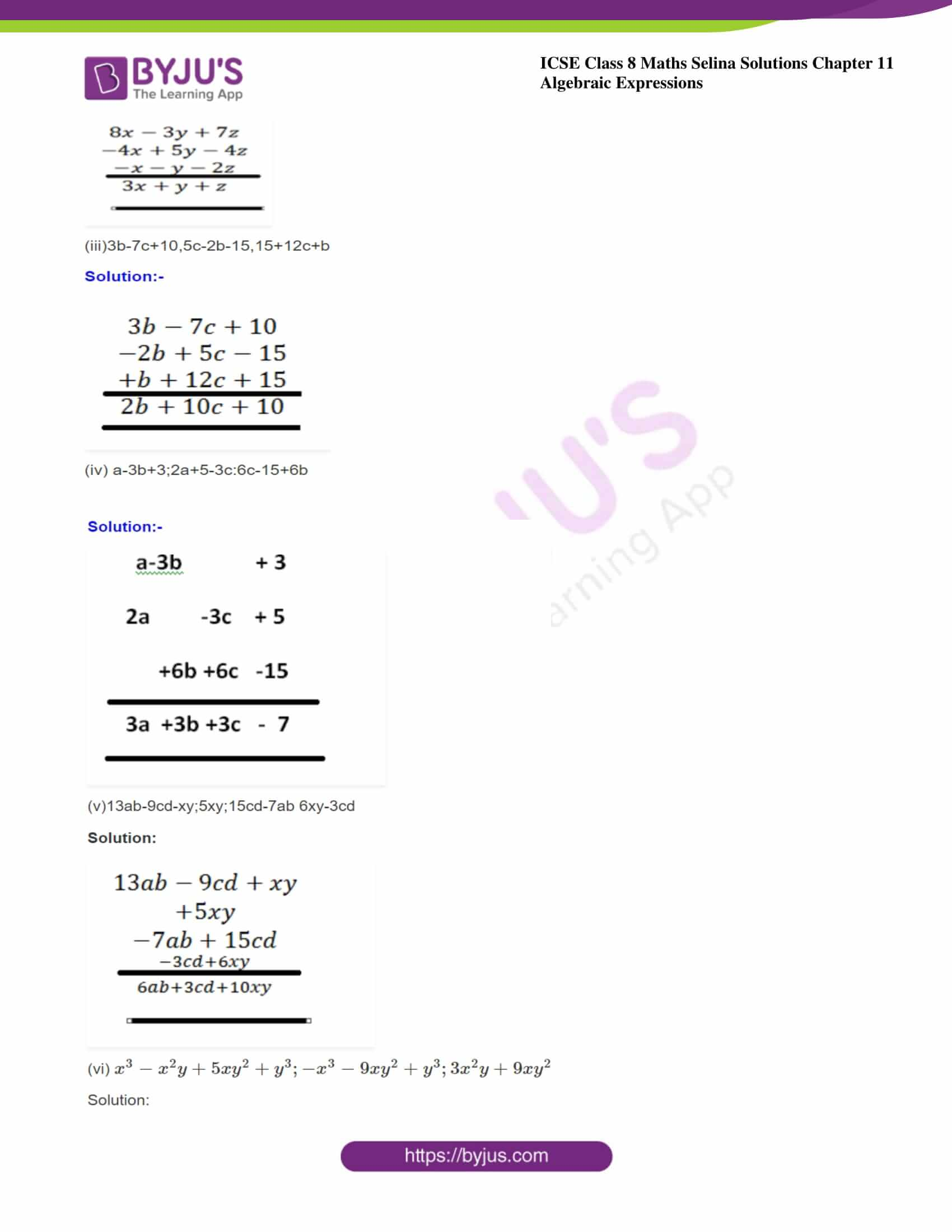icse class 8 maths may3 selina solutions chapter 11 algebraic expressions 06