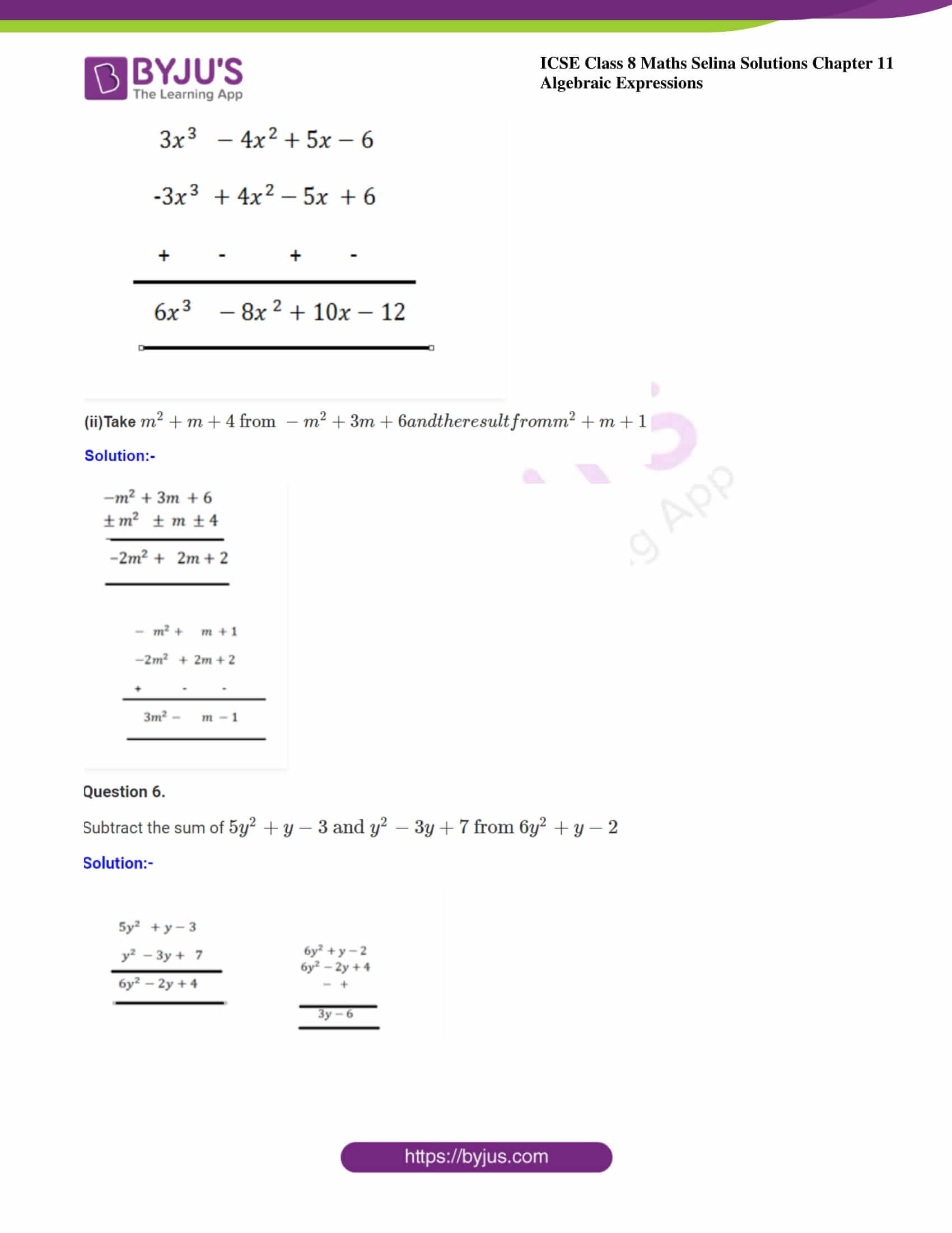 icse class 8 maths may3 selina solutions chapter 11 algebraic expressions 10