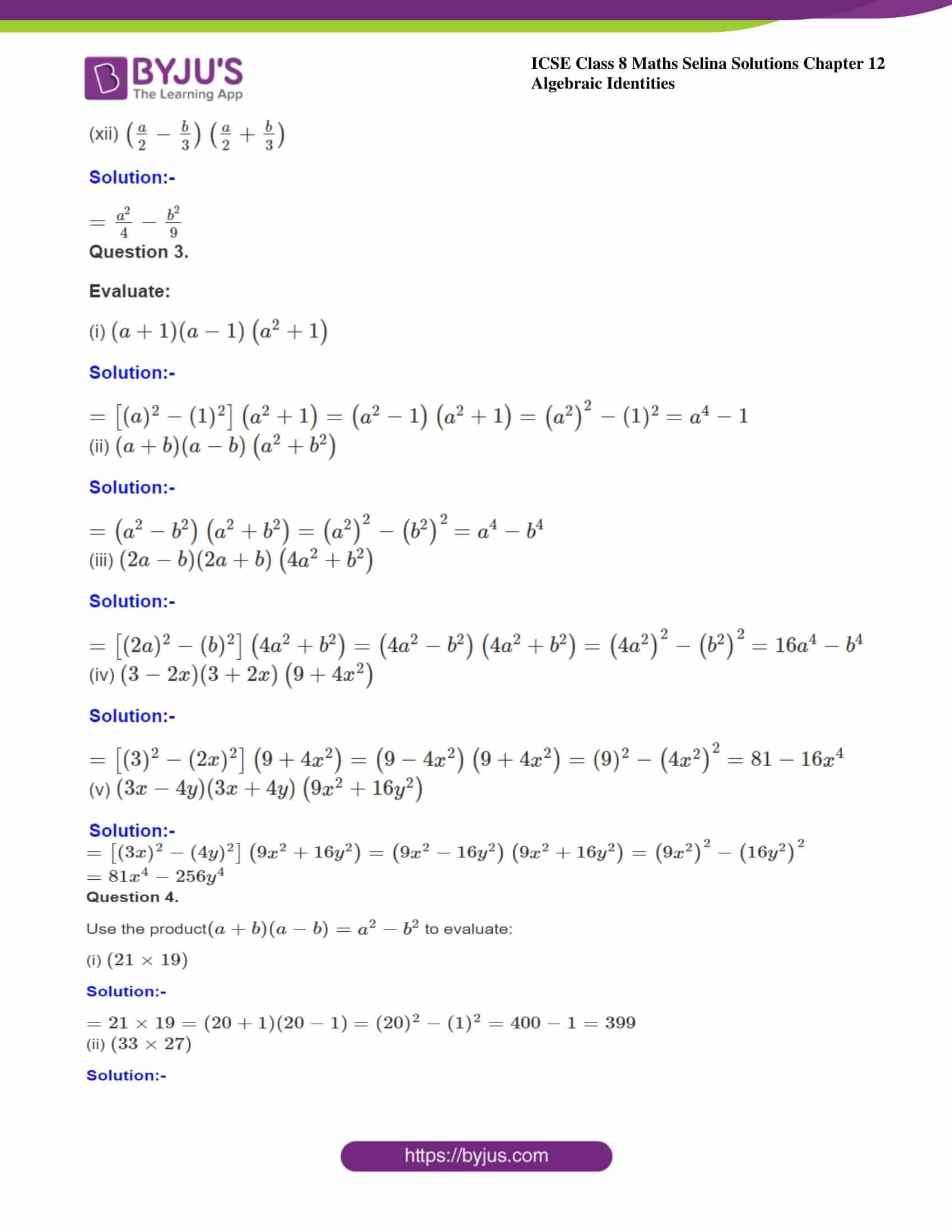 icse class 8 maths may3 selina solutions chapter 12 algebraic identities 03