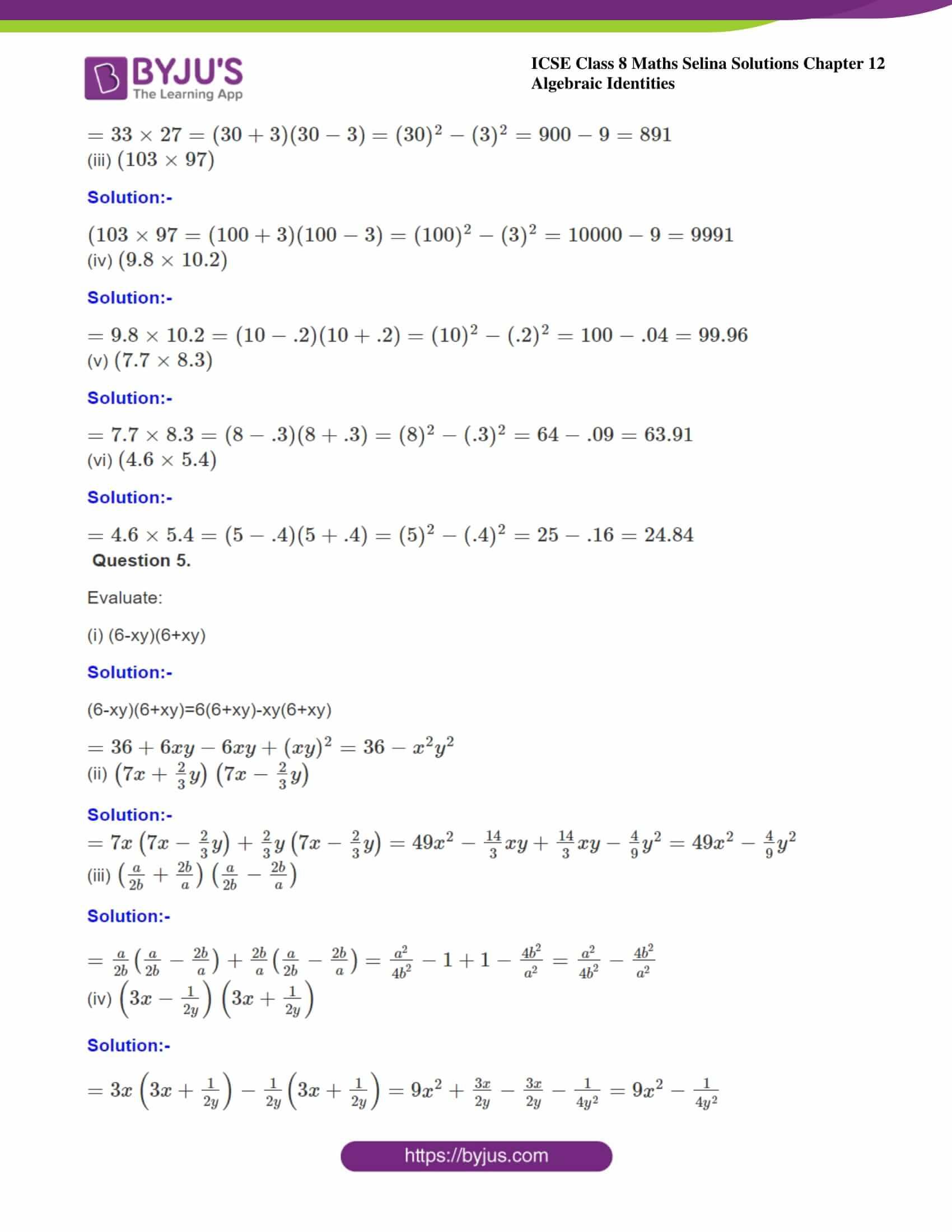 icse class 8 maths may3 selina solutions chapter 12 algebraic identities 04