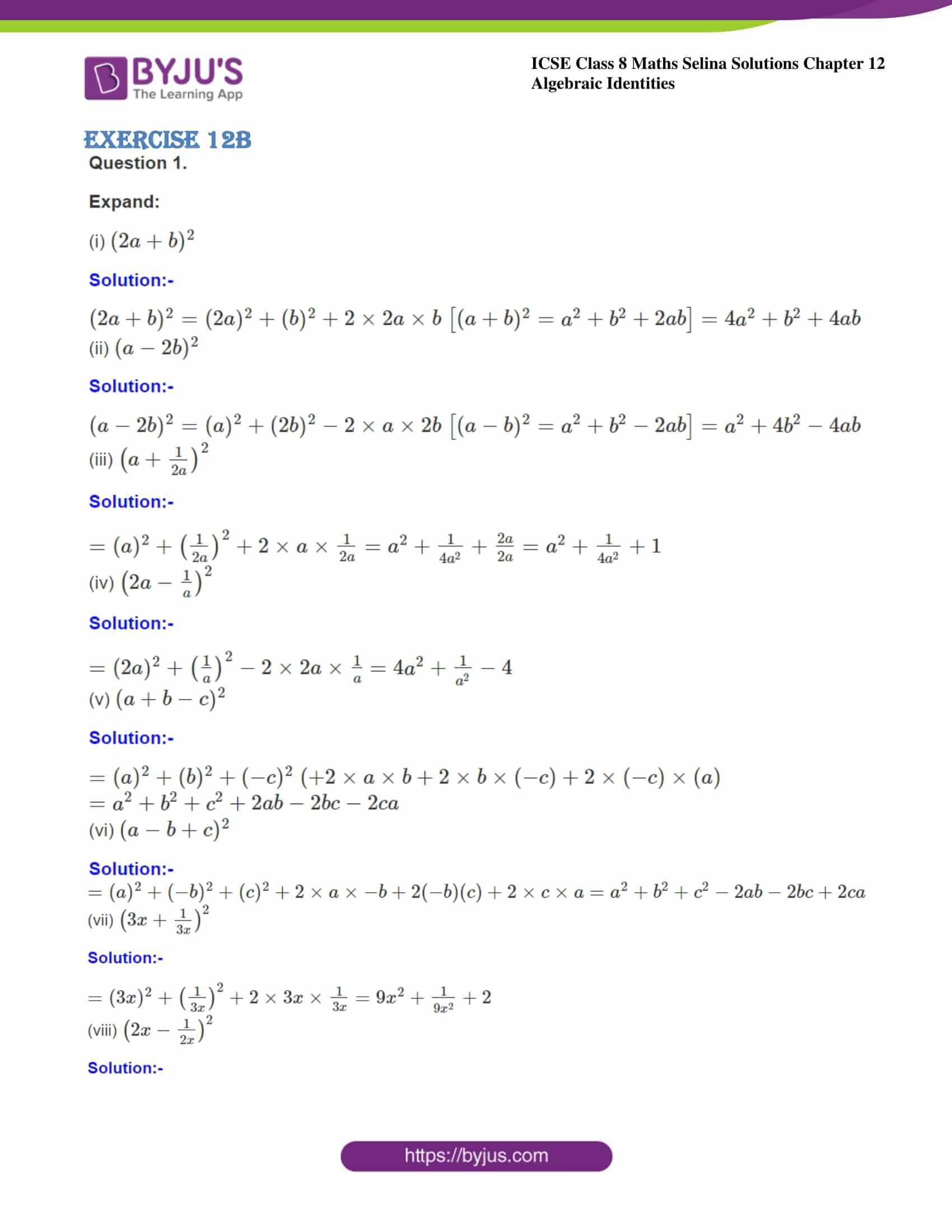 icse class 8 maths may3 selina solutions chapter 12 algebraic identities 06