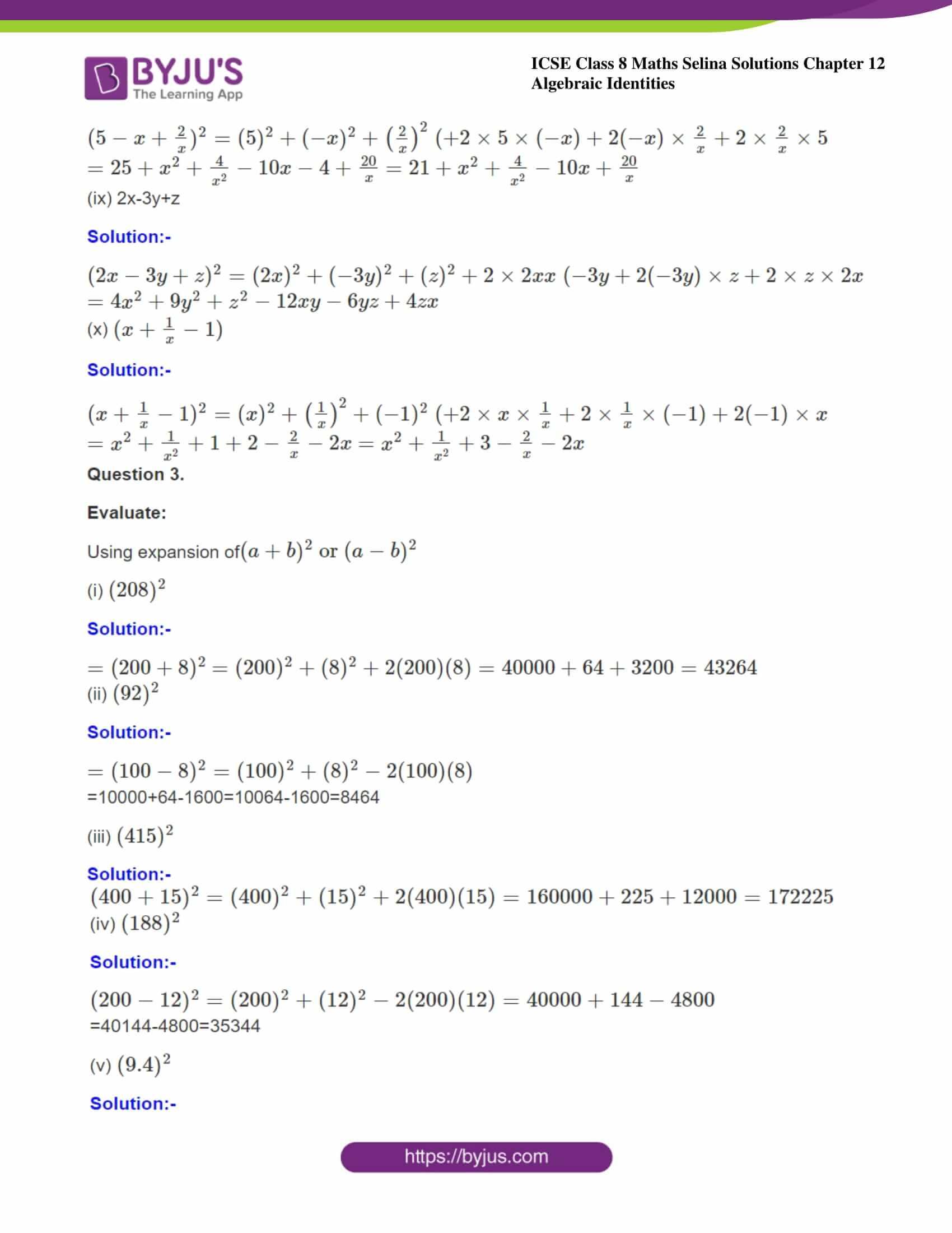 icse class 8 maths may3 selina solutions chapter 12 algebraic identities 08