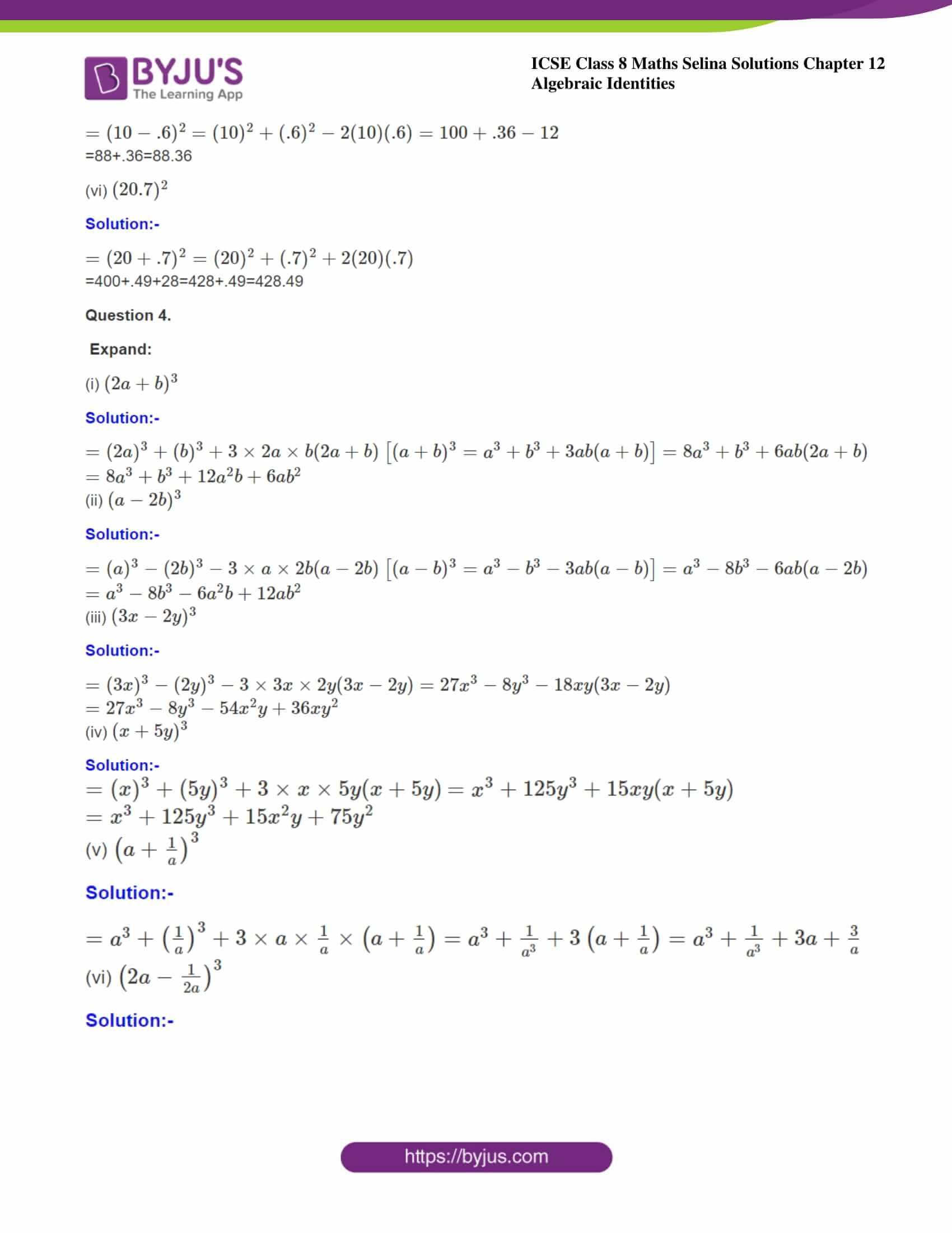 icse class 8 maths may3 selina solutions chapter 12 algebraic identities 09