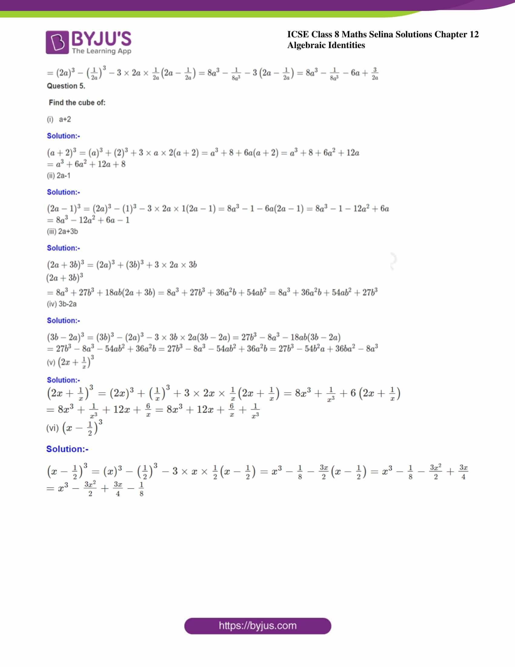icse class 8 maths may3 selina solutions chapter 12 algebraic identities 10