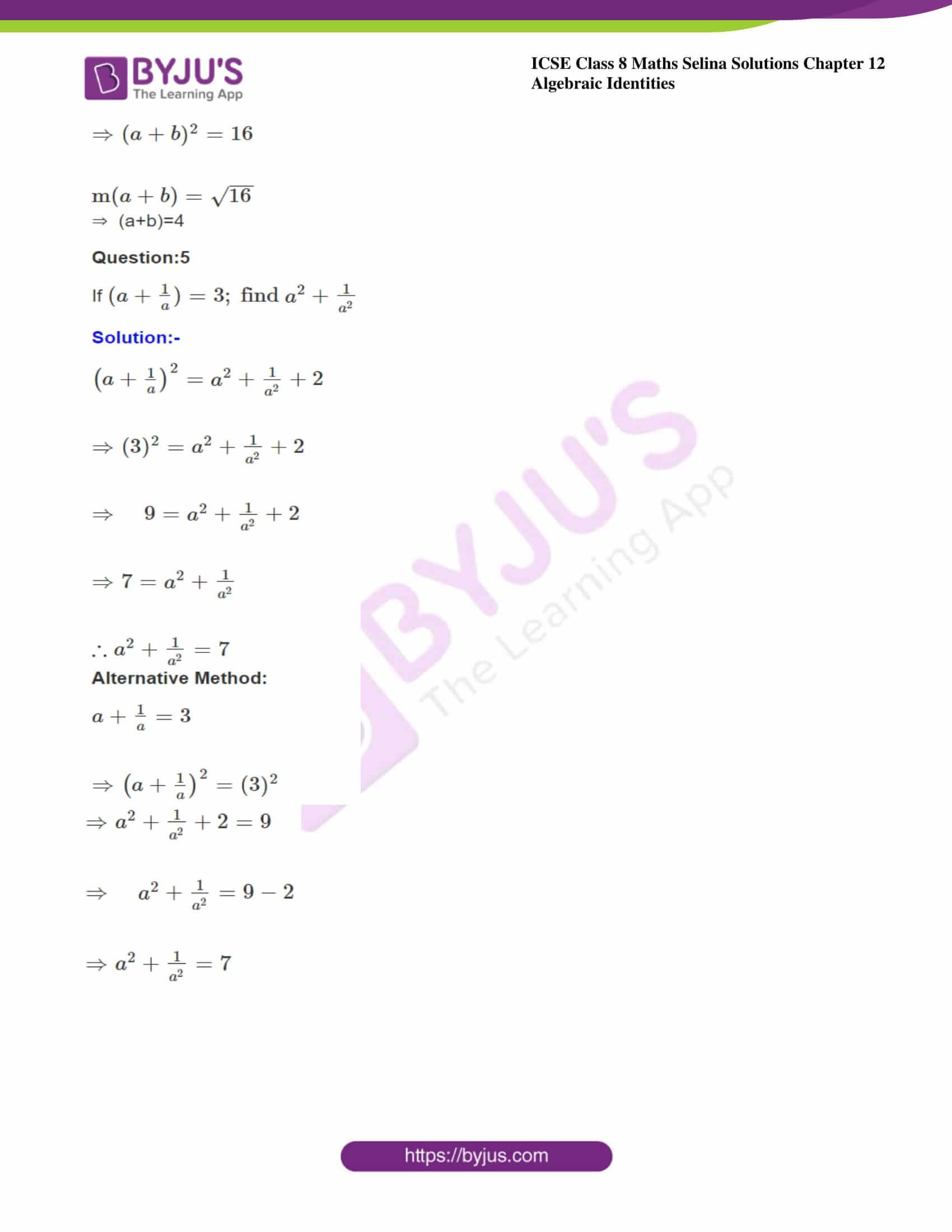 icse class 8 maths may3 selina solutions chapter 12 algebraic identities 13