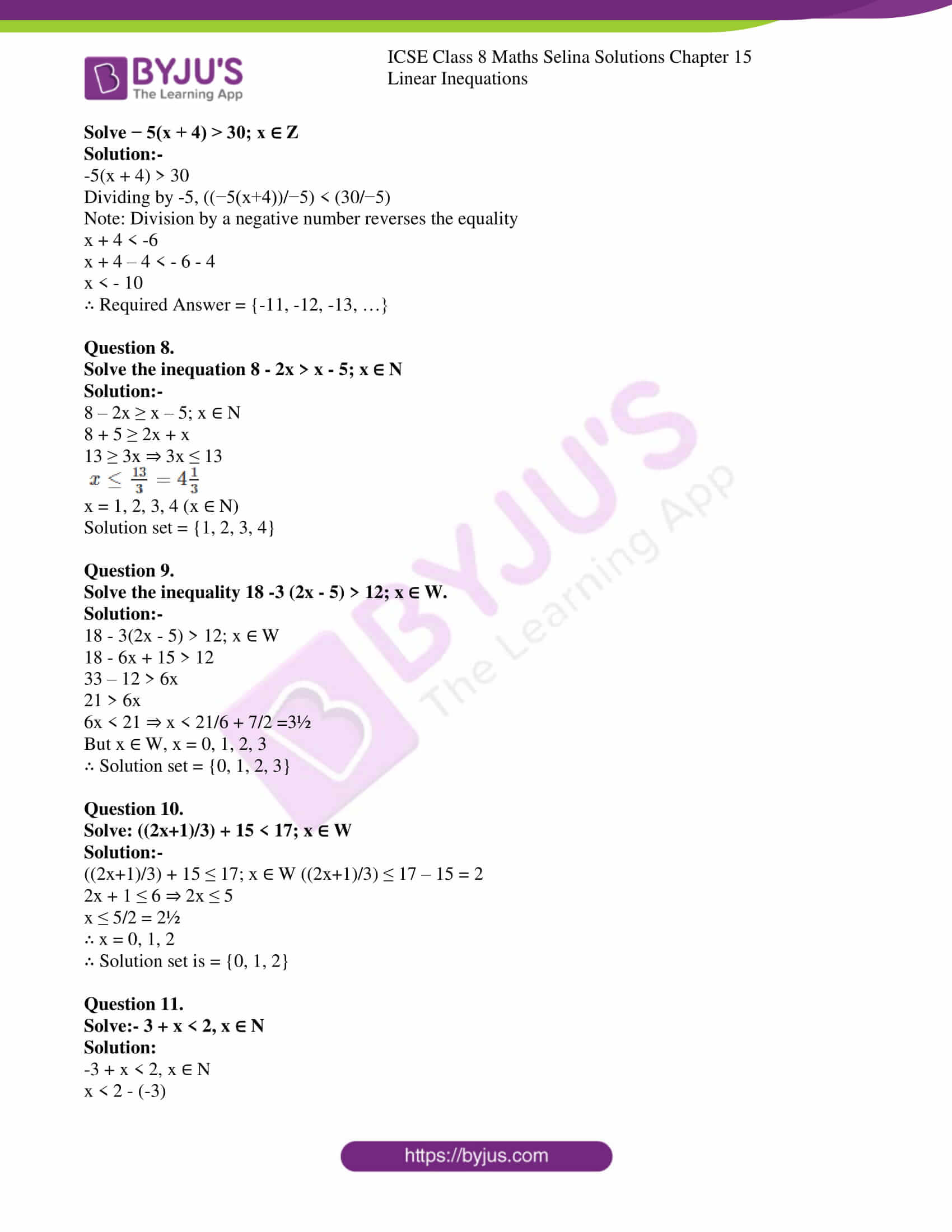 icse class 8 maths may3 selina solutions chapter 15 linear inequations 3