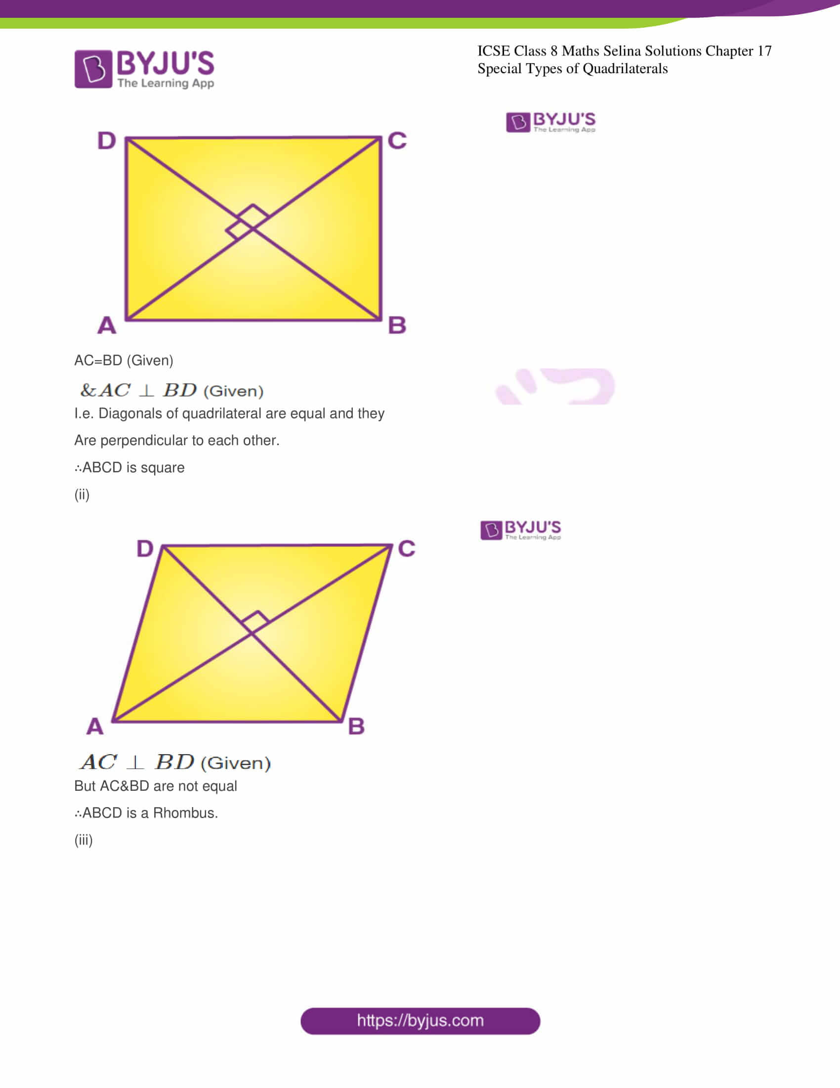 icse class 8 maths may3 selina solutions chapter 17 special types of quadrilaterals 10