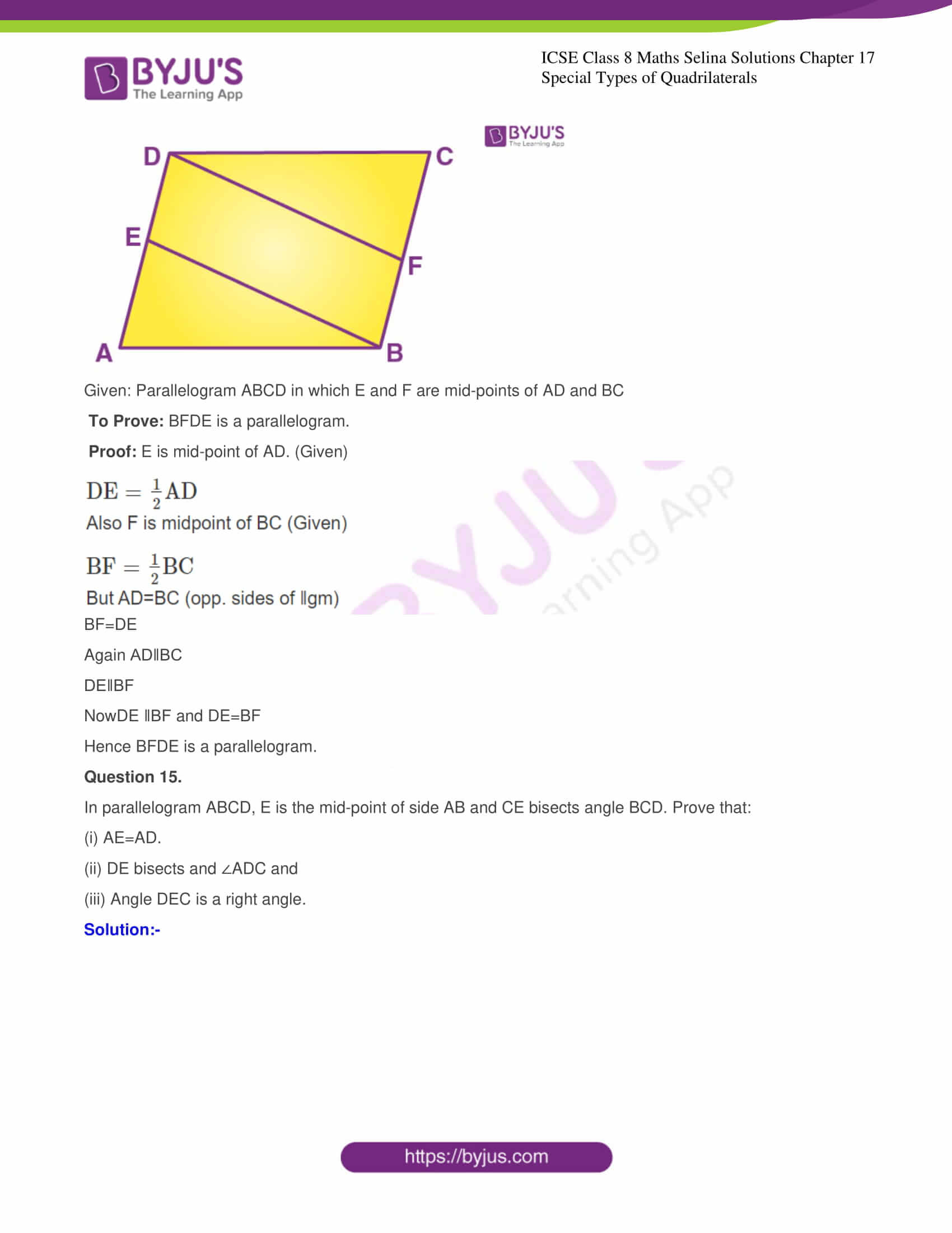 icse class 8 maths may3 selina solutions chapter 17 special types of quadrilaterals 13