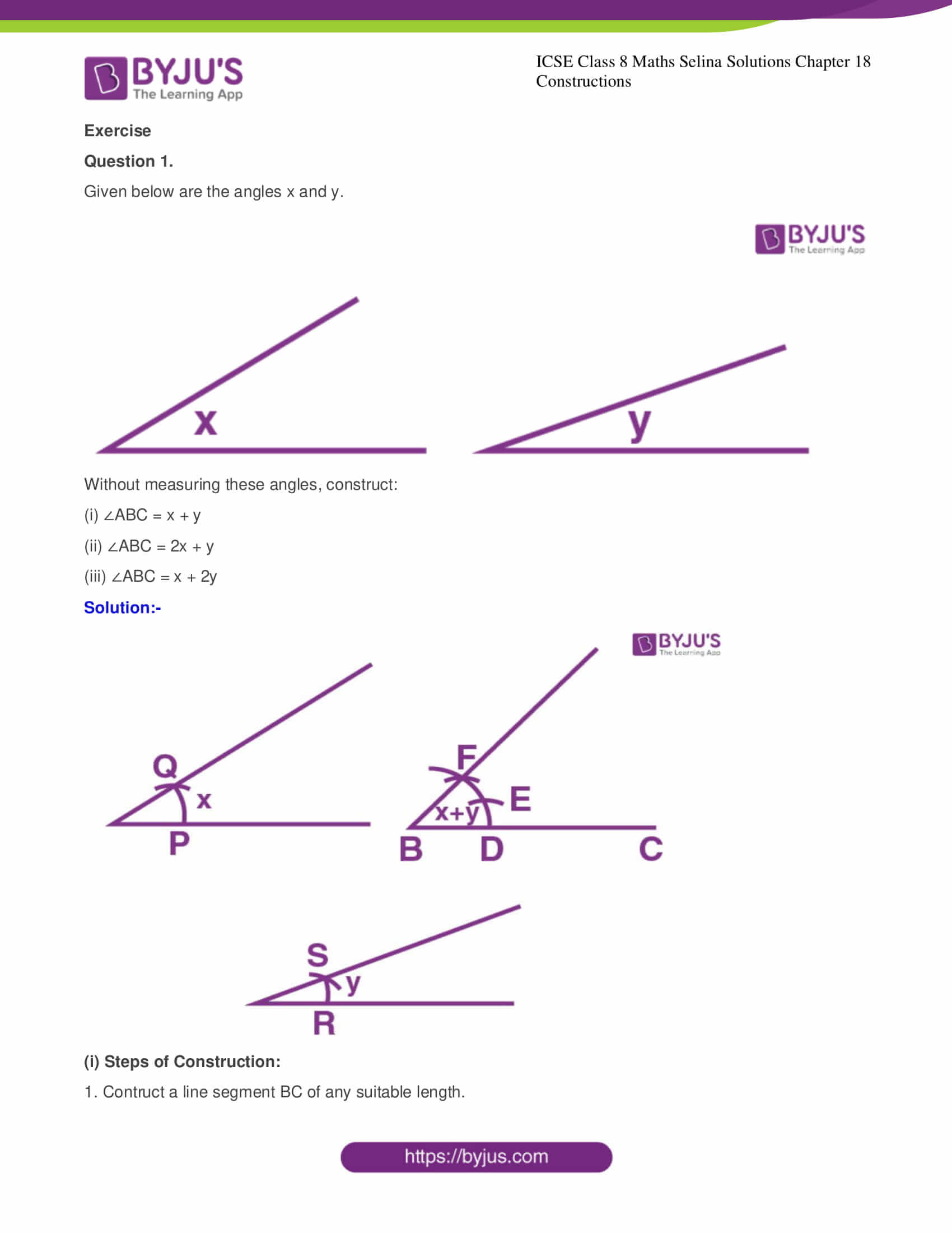 icse class 8 maths may3 selina solutions chapter 18 constructions 01