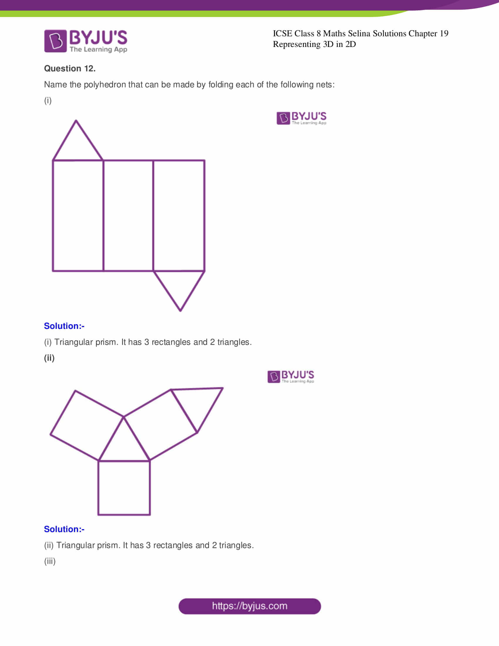 icse class 8 maths may3 selina solutions chapter 19 representing 3d in 2d 7