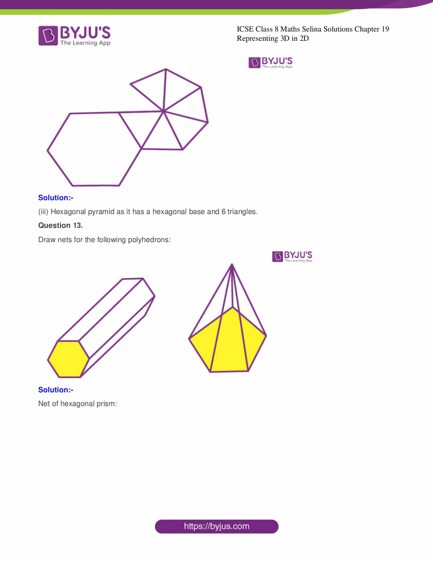 icse class 8 maths may3 selina solutions chapter 19 representing 3d in 2d 8