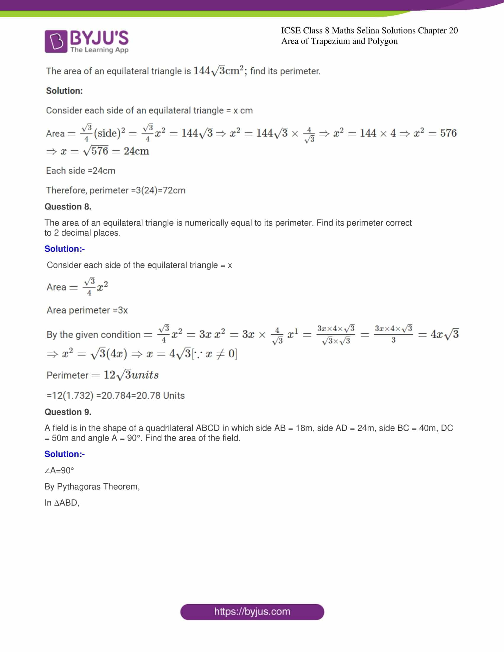 icse class 8 maths may3 selina solutions chapter 20 area of trapezium and polygon 05
