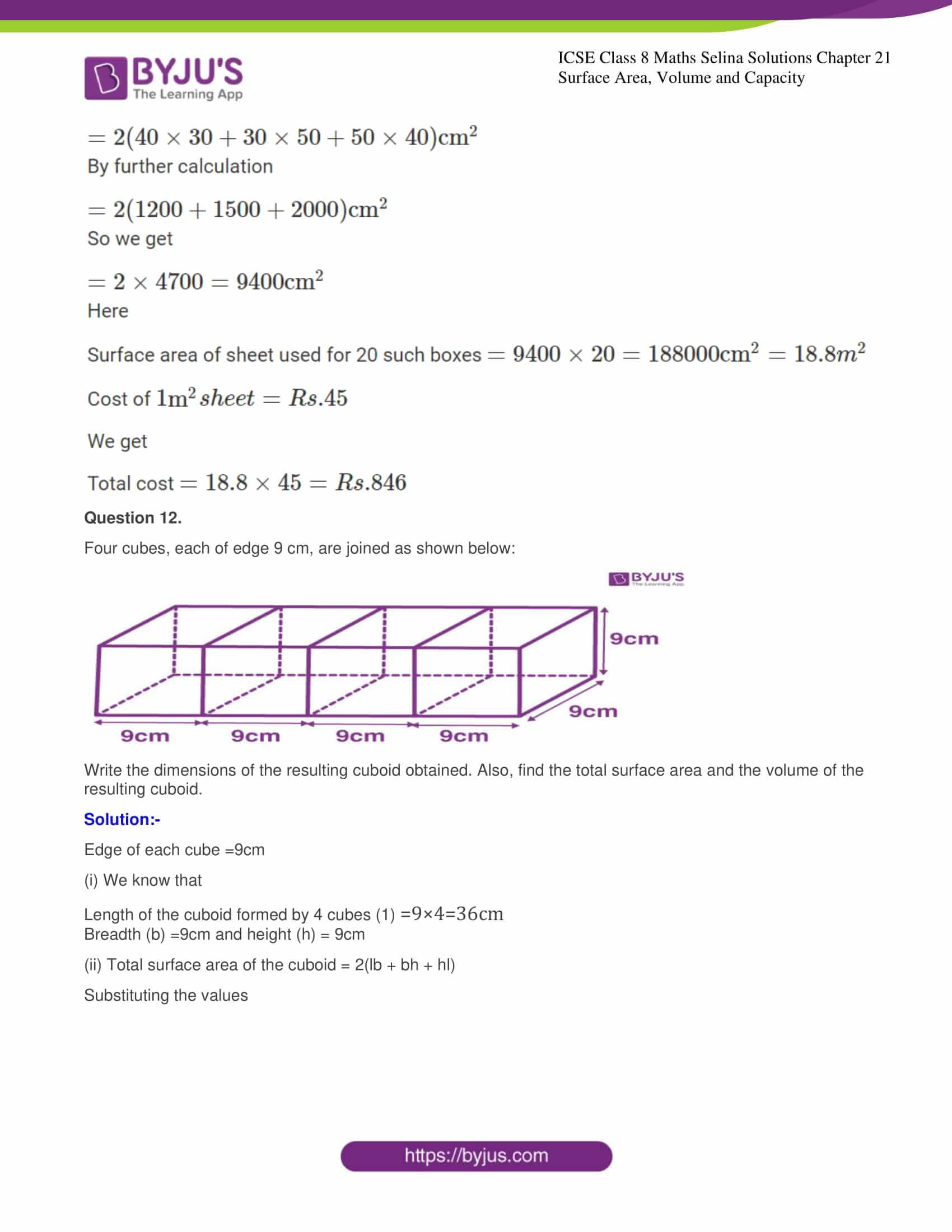 icse class 8 maths may3 selina solutions chapter 21 surface area volume and capacity 09