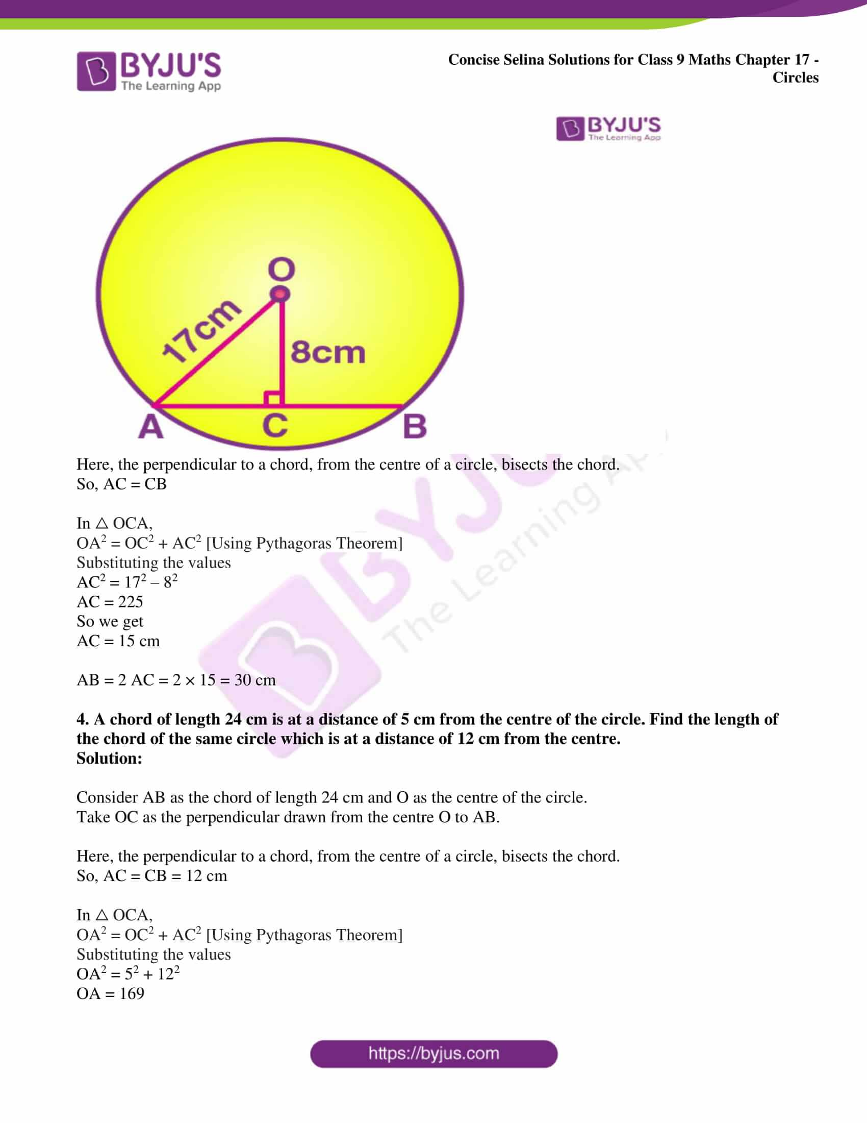 icse class 9 maths may10 selina solutions chapter 17 circles 03