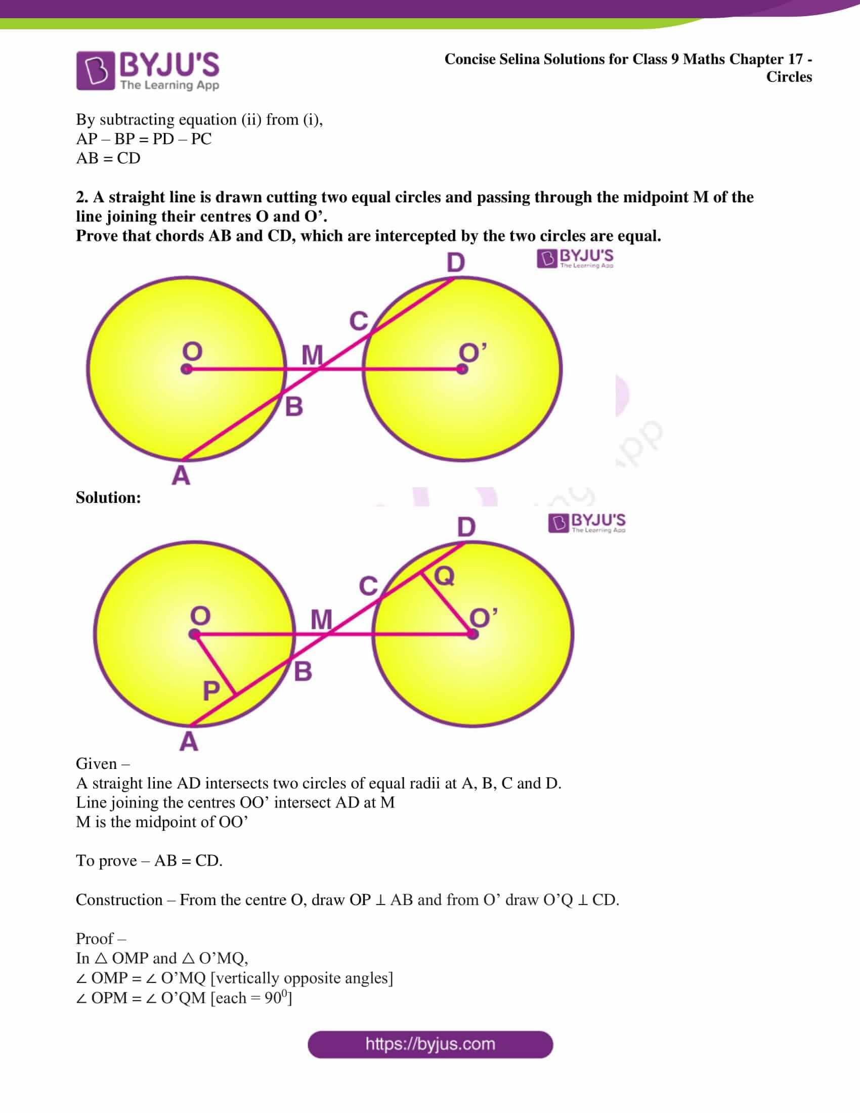 icse class 9 maths may10 selina solutions chapter 17 circles 07