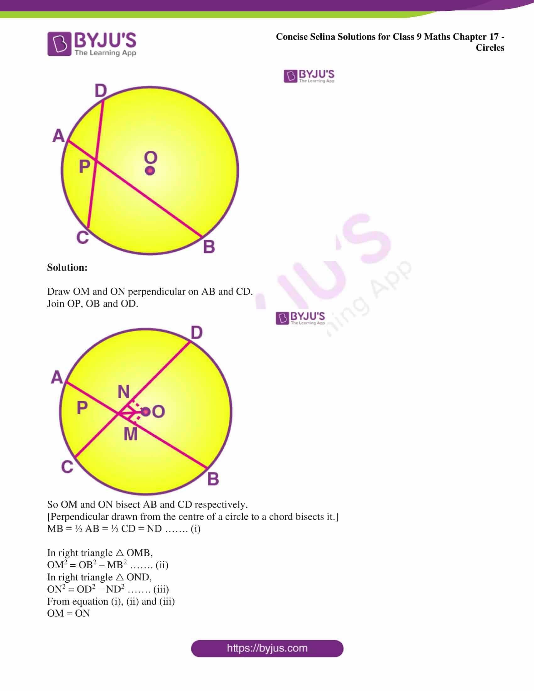 icse class 9 maths may10 selina solutions chapter 17 circles 11