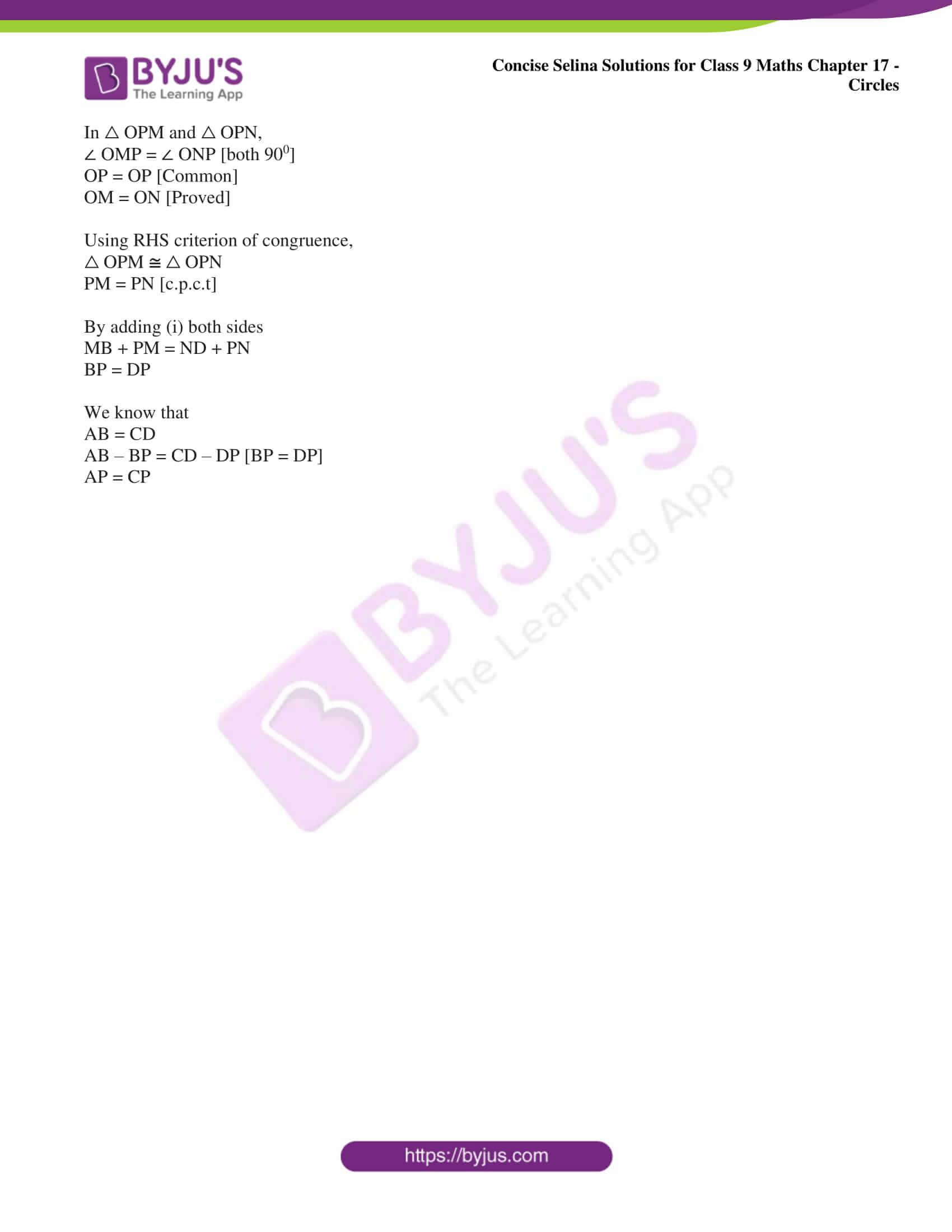 icse class 9 maths may10 selina solutions chapter 17 circles 12