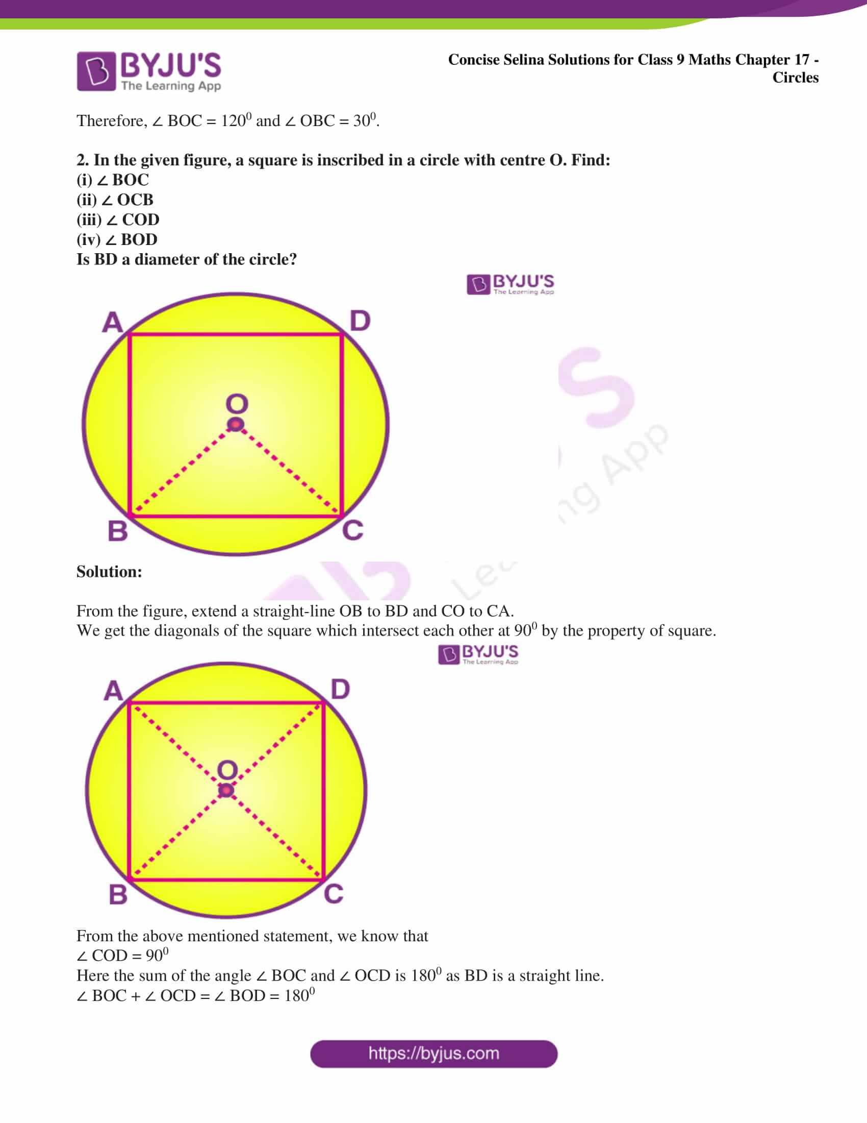 icse class 9 maths may10 selina solutions chapter 17 circles 14