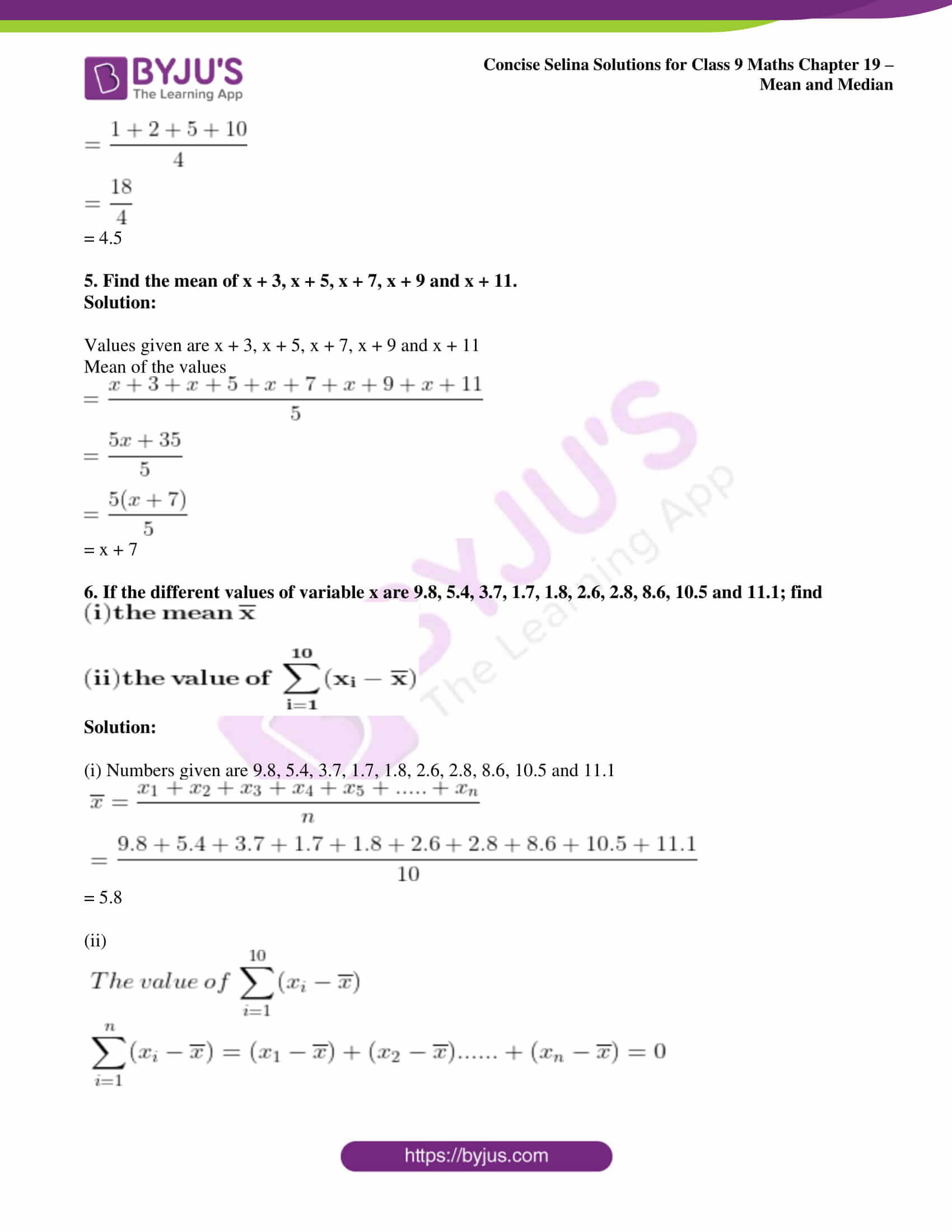 icse class 9 maths may10 selina solutions chapter 19 mean and median 02