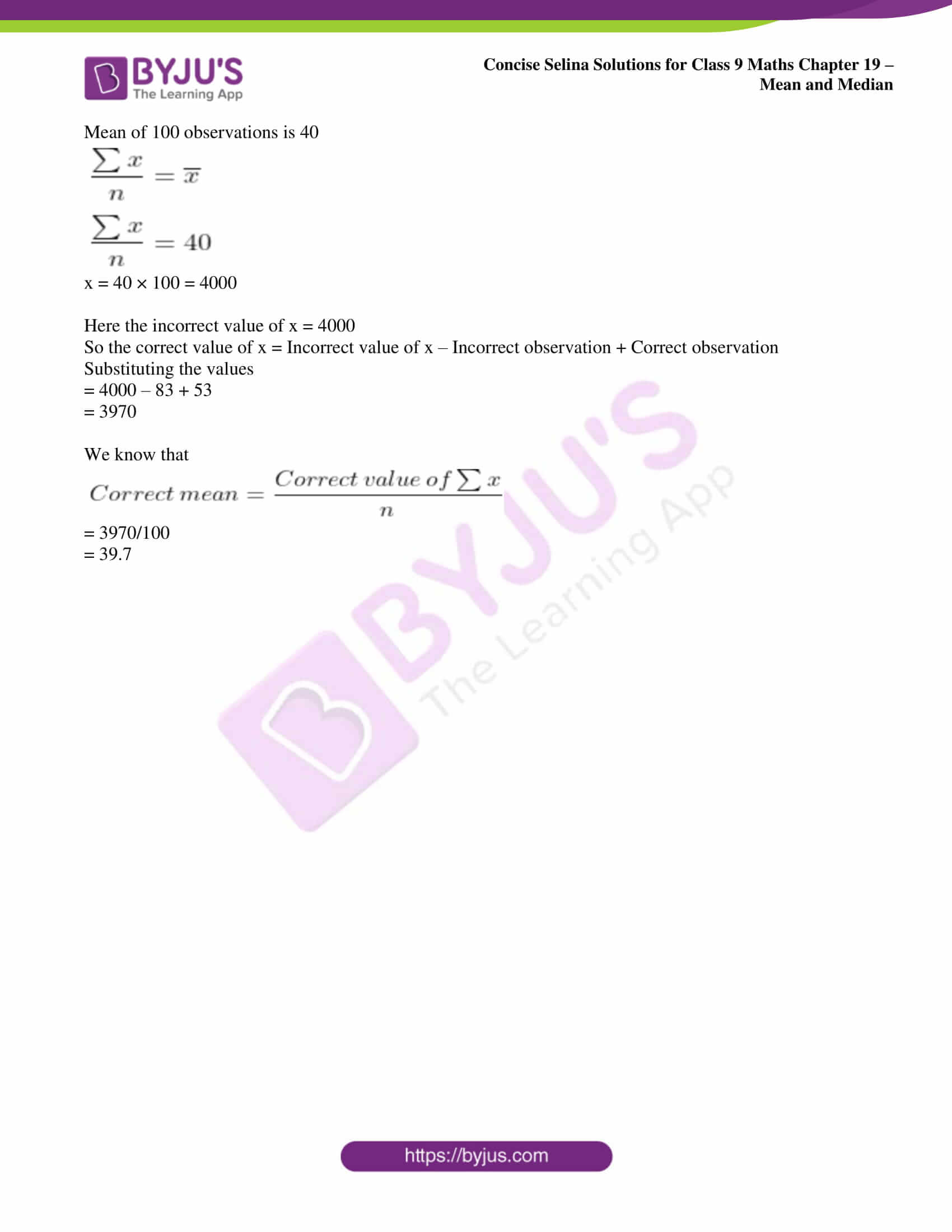 icse class 9 maths may10 selina solutions chapter 19 mean and median 05