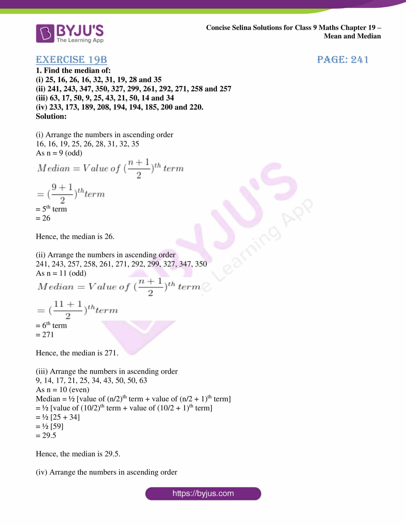 icse class 9 maths may10 selina solutions chapter 19 mean and median 06