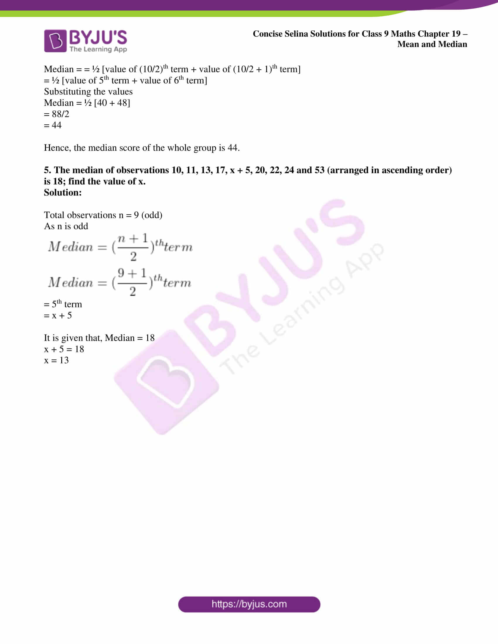 icse class 9 maths may10 selina solutions chapter 19 mean and median 08