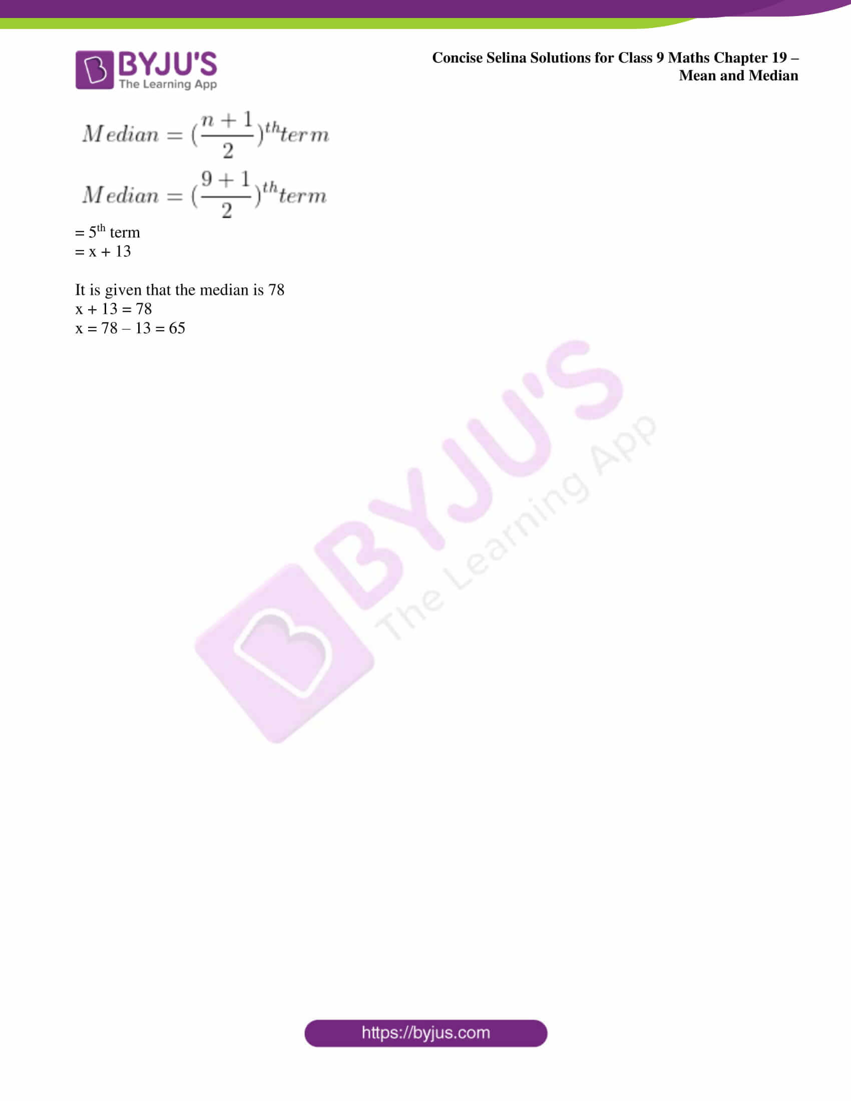 icse class 9 maths may10 selina solutions chapter 19 mean and median 12