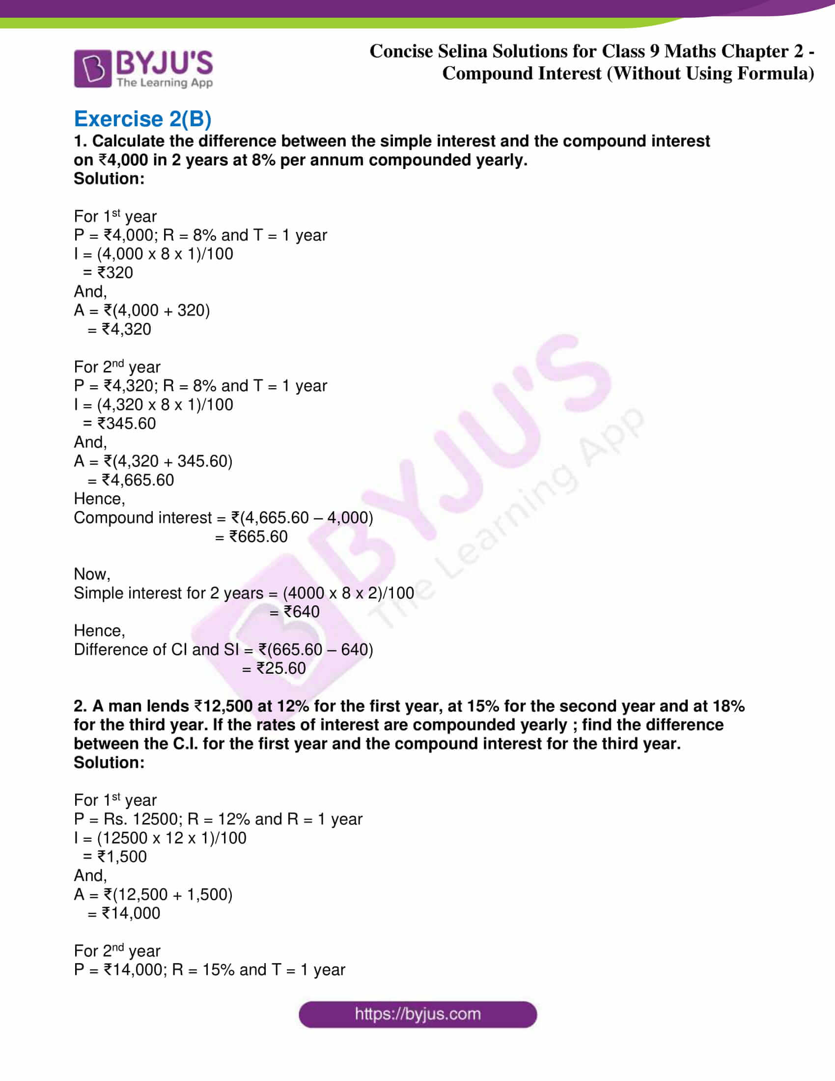 icse class 9 maths may10 selina solutions chapter 2 compound interest without using formula 08