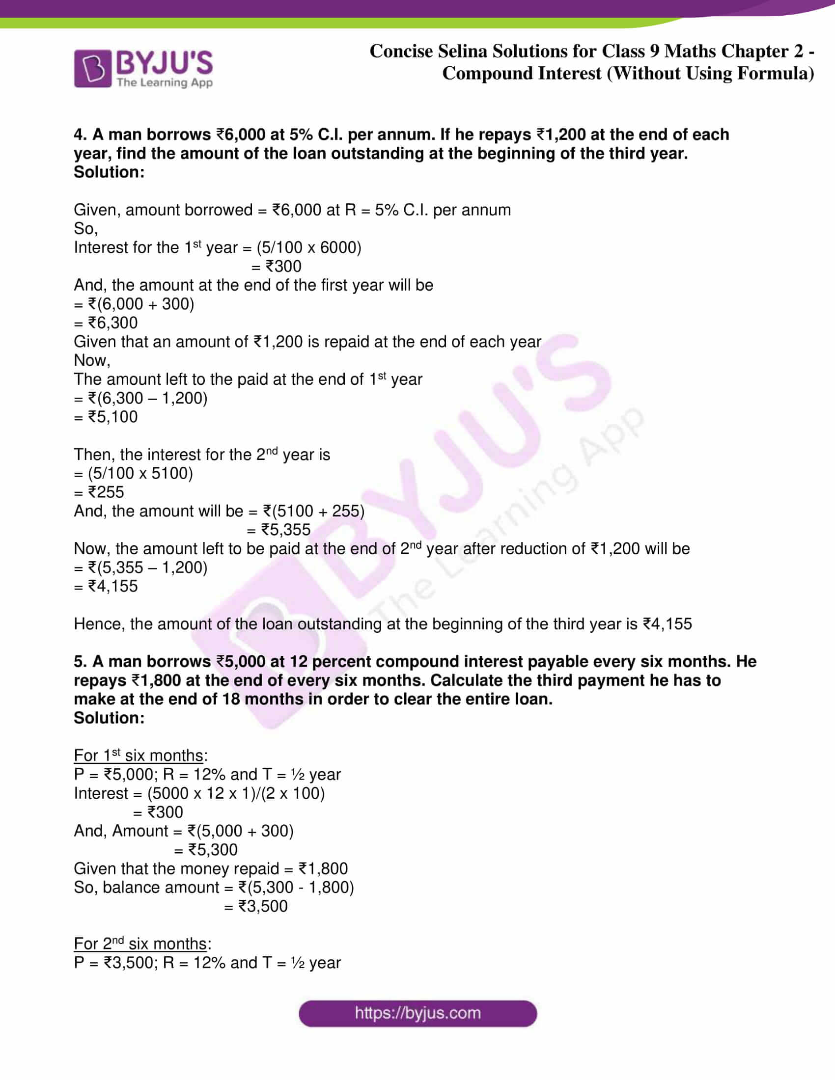 icse class 9 maths may10 selina solutions chapter 2 compound interest without using formula 10