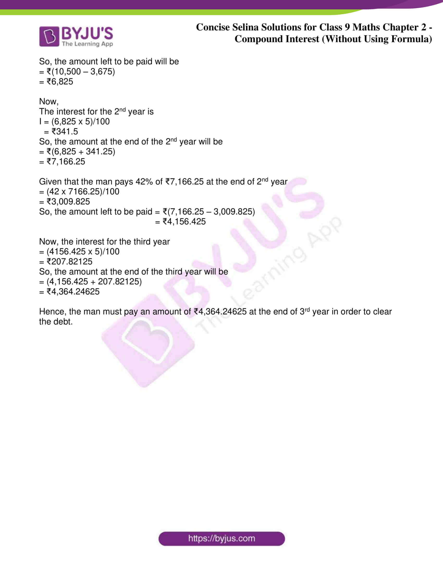 icse class 9 maths may10 selina solutions chapter 2 compound interest without using formula 14
