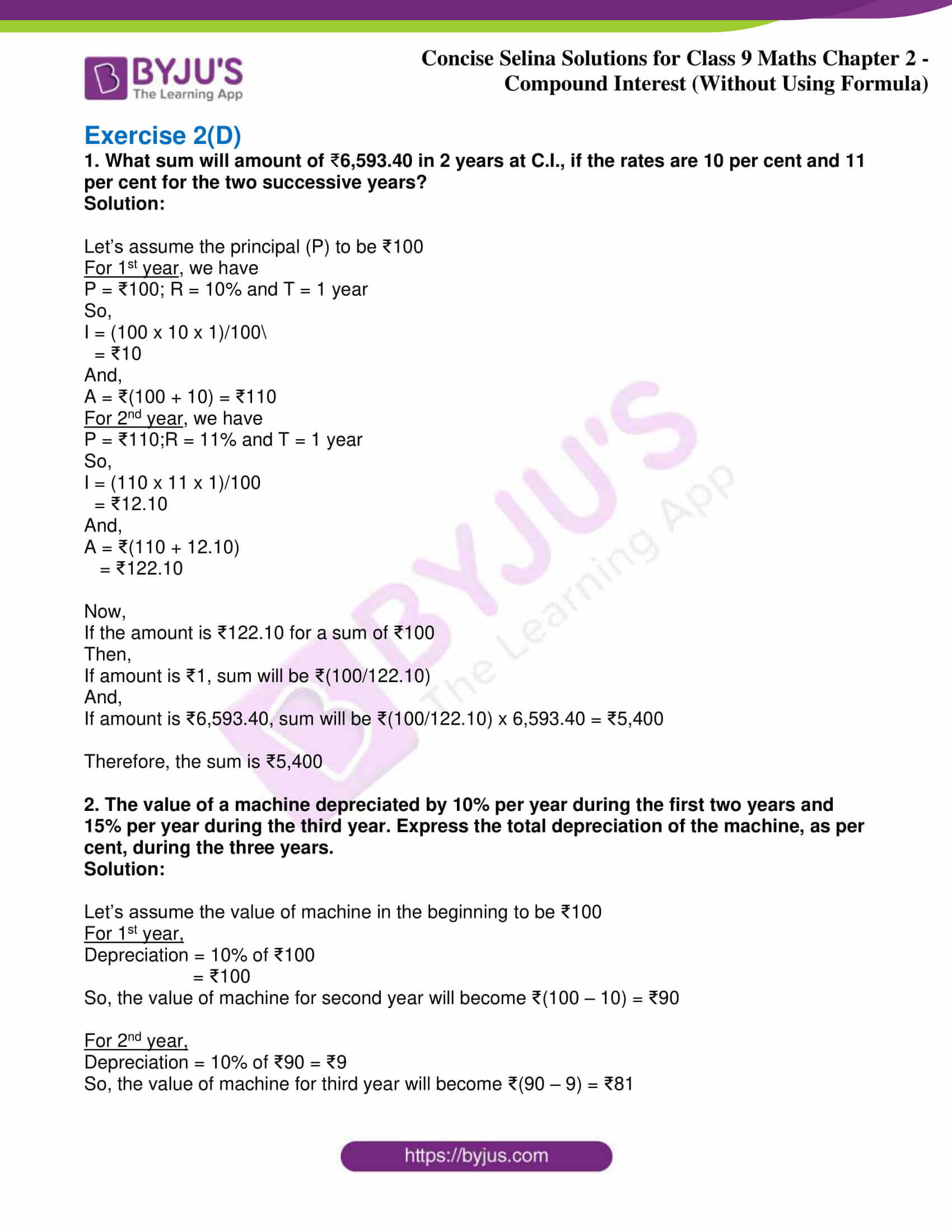 icse class 9 maths may10 selina solutions chapter 2 compound interest without using formula 23