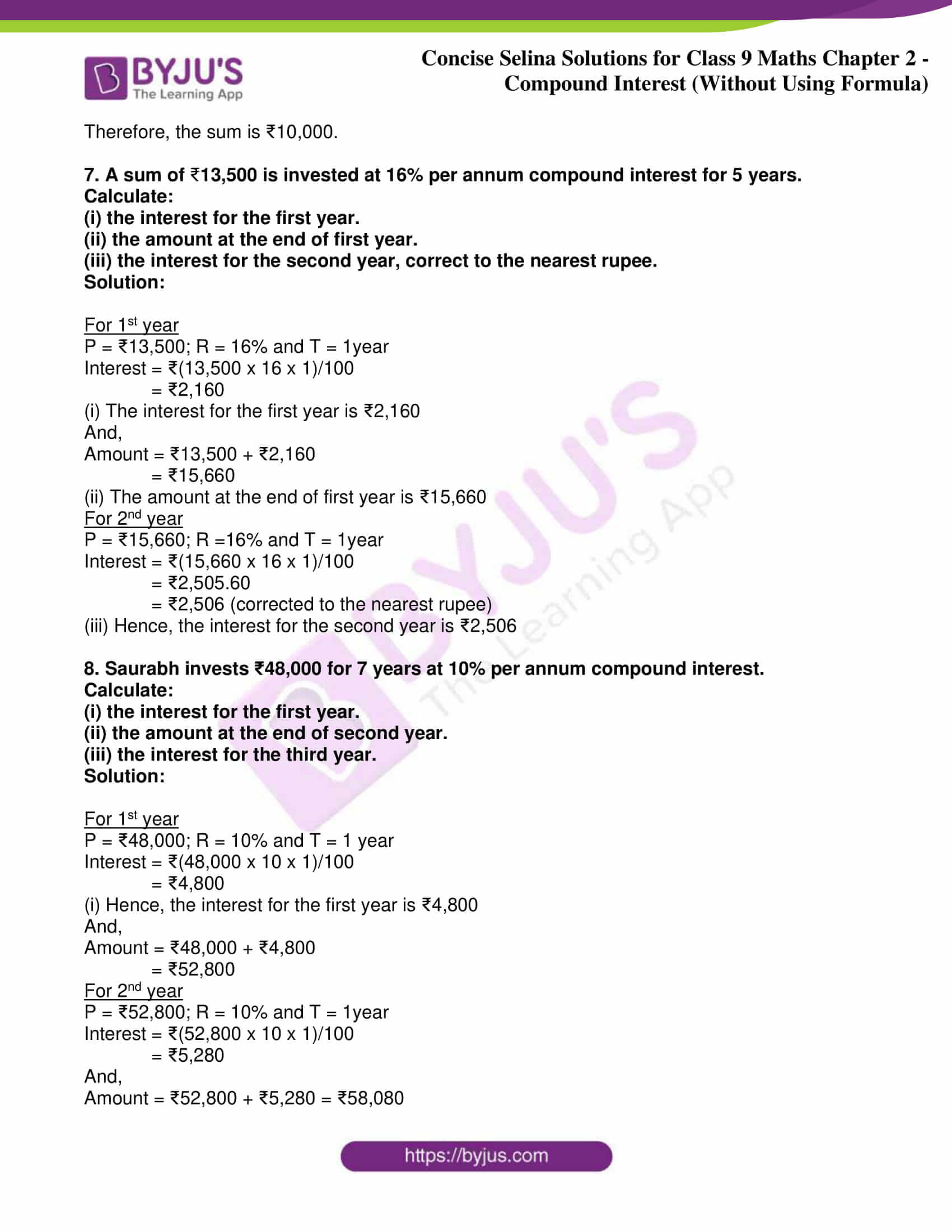icse class 9 maths may10 selina solutions chapter 2 compound interest without using formula 27