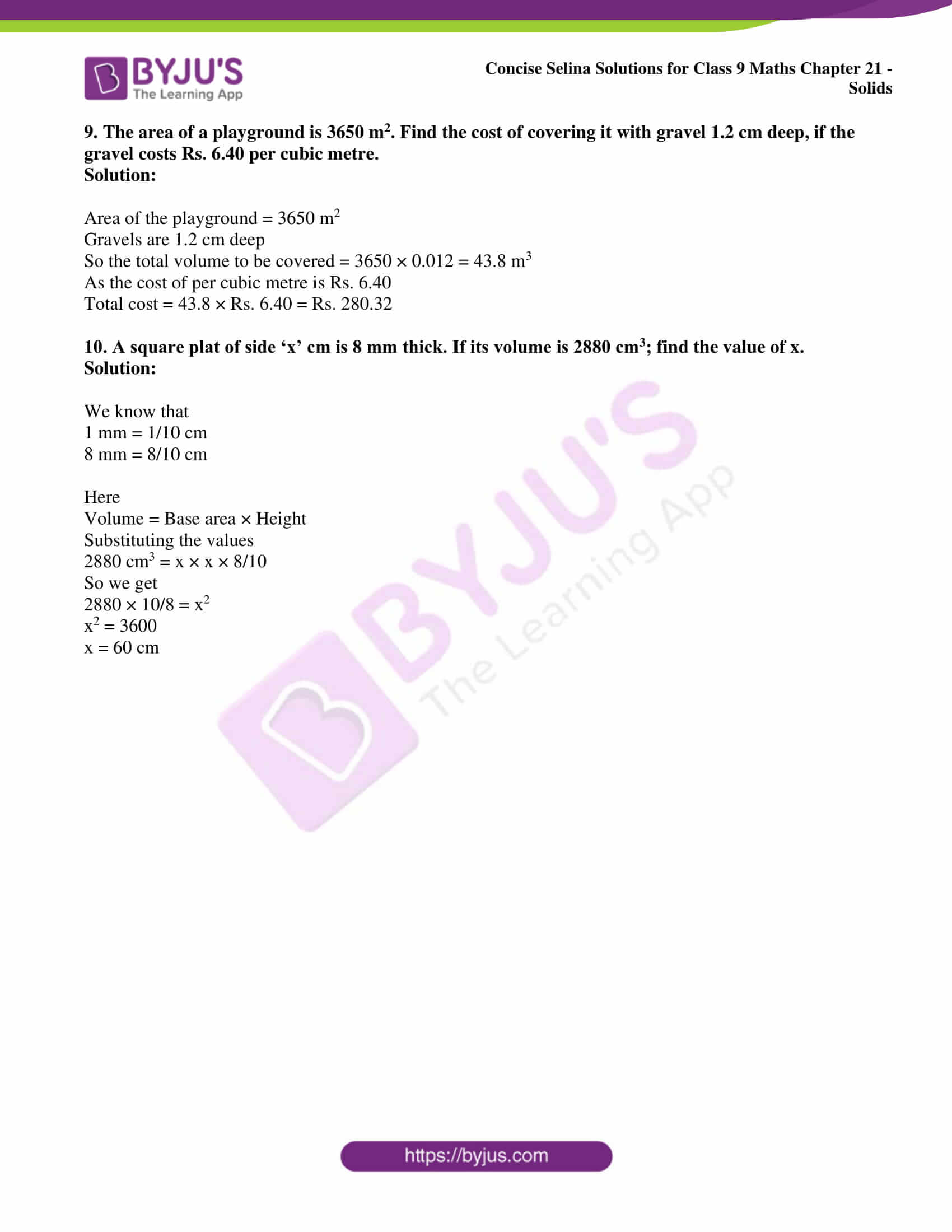 icse class 9 maths may10 selina solutions chapter 21 solids 04