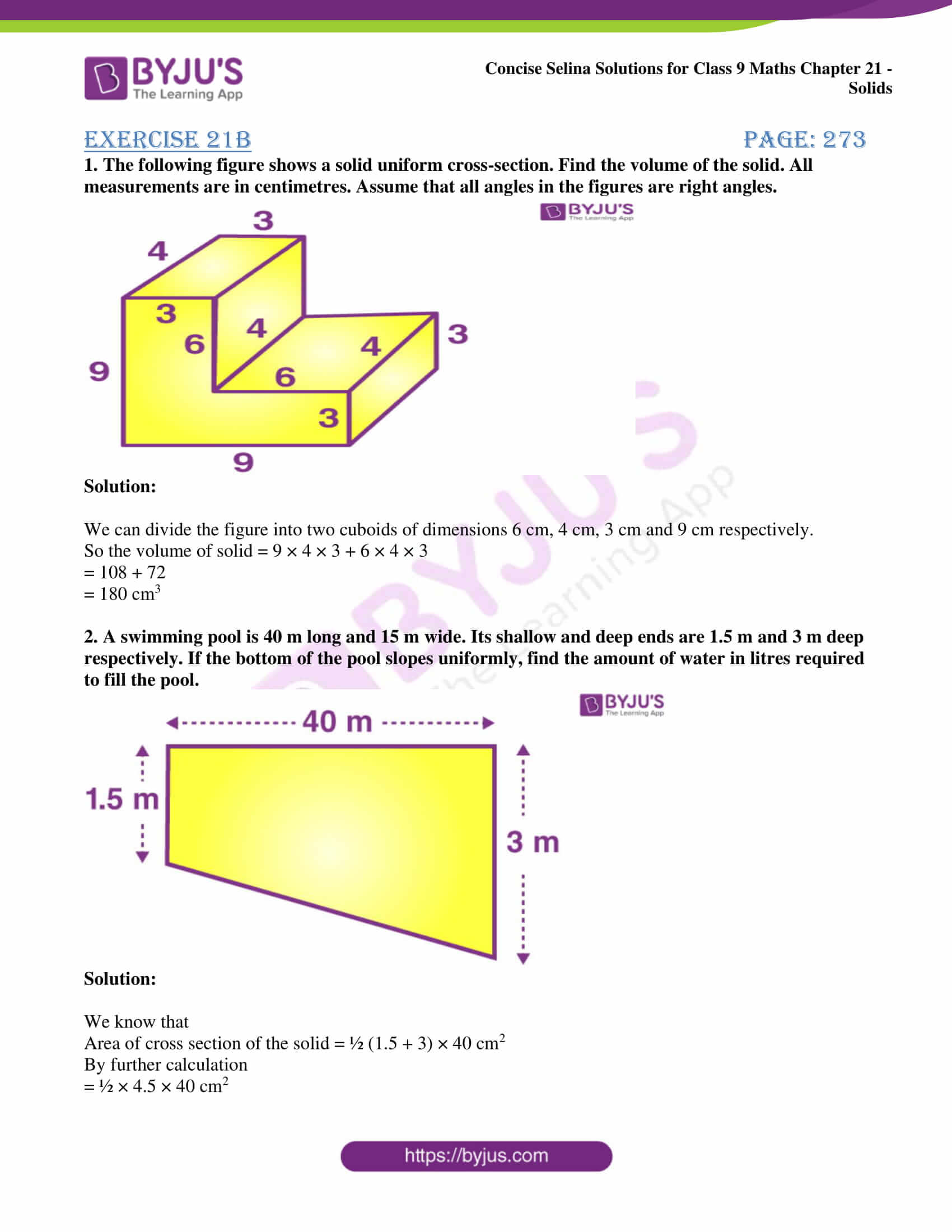 icse class 9 maths may10 selina solutions chapter 21 solids 05