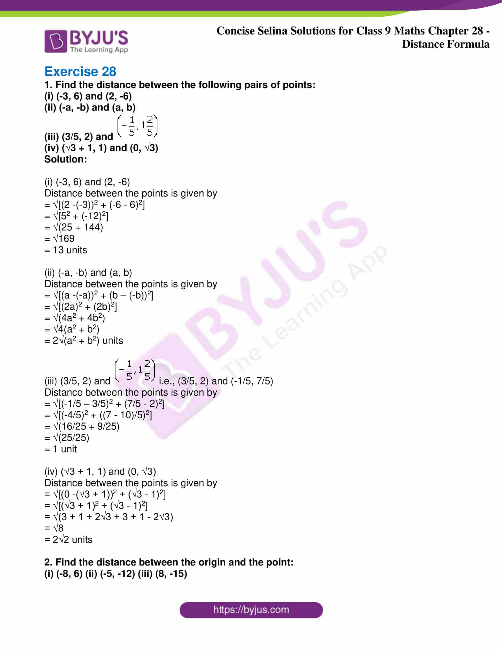 icse class 9 maths may10 selina solutions chapter 28 distance formula 01