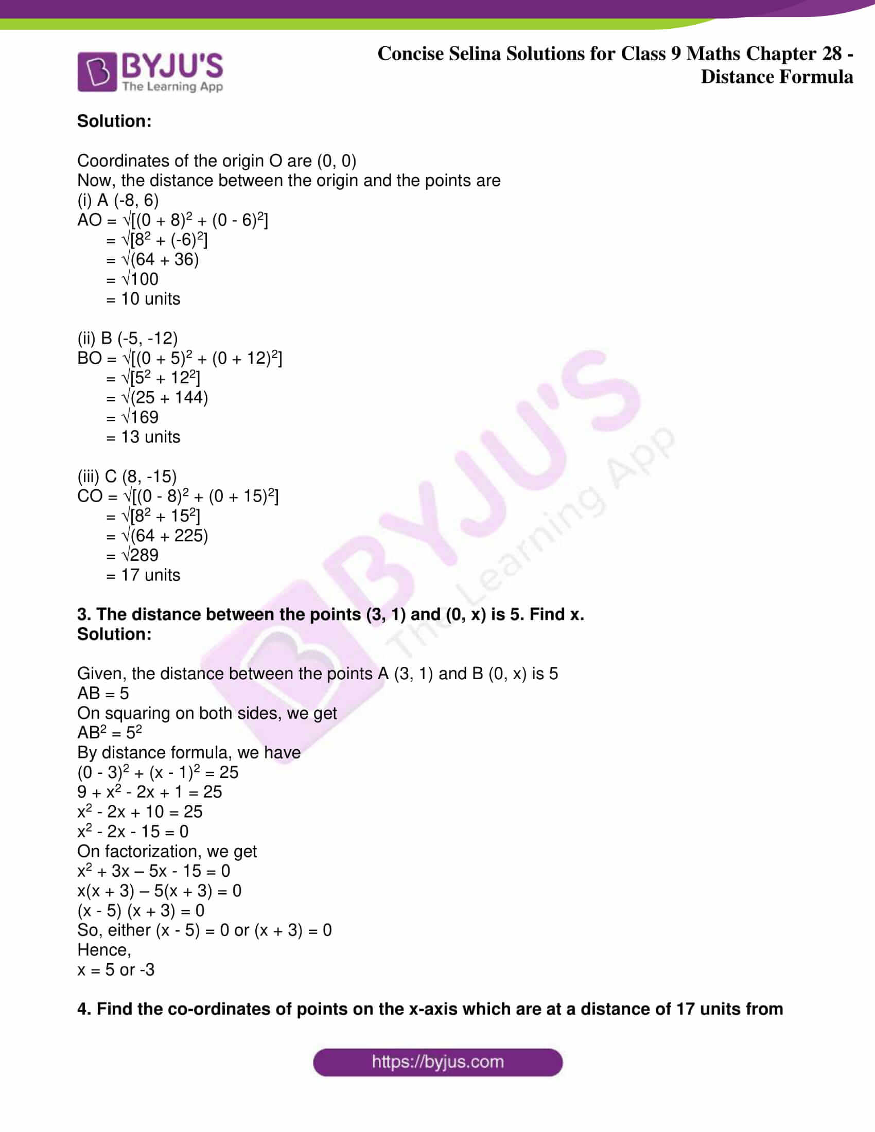 icse class 9 maths may10 selina solutions chapter 28 distance formula 02
